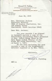 Letter from Bernar R. Fielding to Christine O. Jackson, June 26, 1973