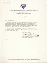Letter from Mrs. Sylvester Jackson to Y.W.C.A. Members, November 8, 1967