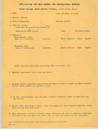 Application for Y.W.C.A. School for Professional Workers, July 1953