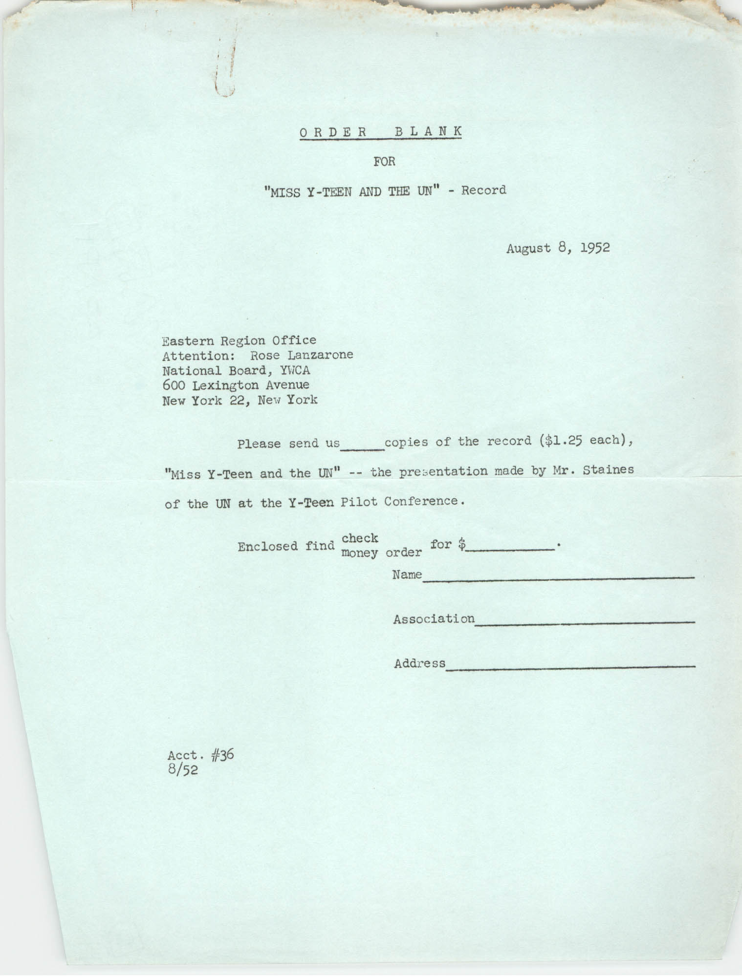 Order Blank, Eastern Region Office of the Y.W.C.A., August 8, 1952