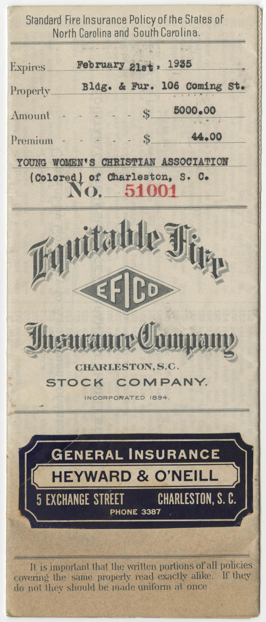 Standard Fire Insurance Policy, The Young Women's Colored Christian Association of Charleston, S. C., 1934 to 1935