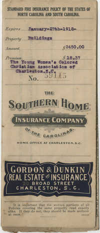 Standard Fire Insurance Policy, The Young Women's Colored Christian Association of Charleston, S. C., 1917 to 1918