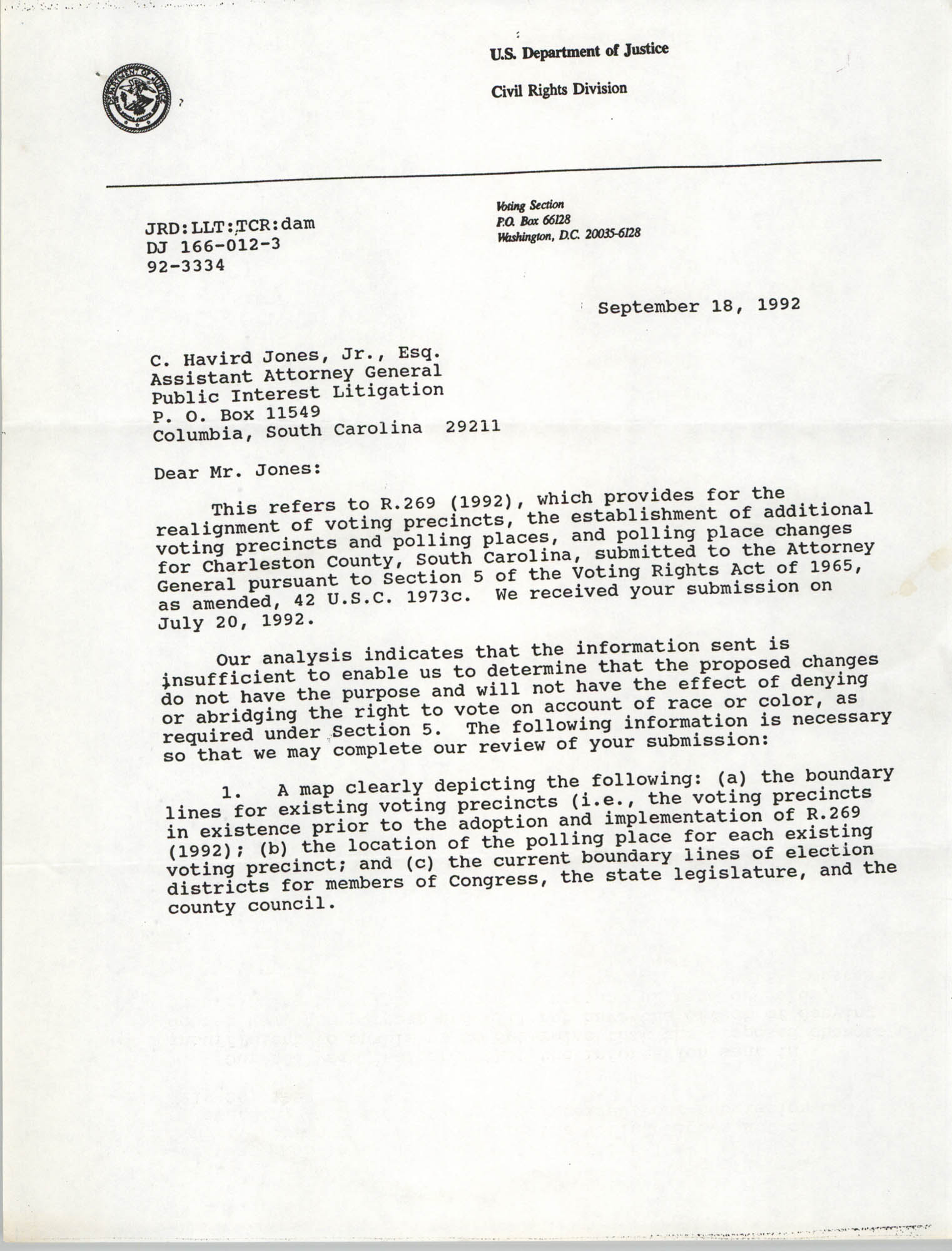 Letter from John R. Dunne to C. Havird Jones, Jr., September 18, 1992