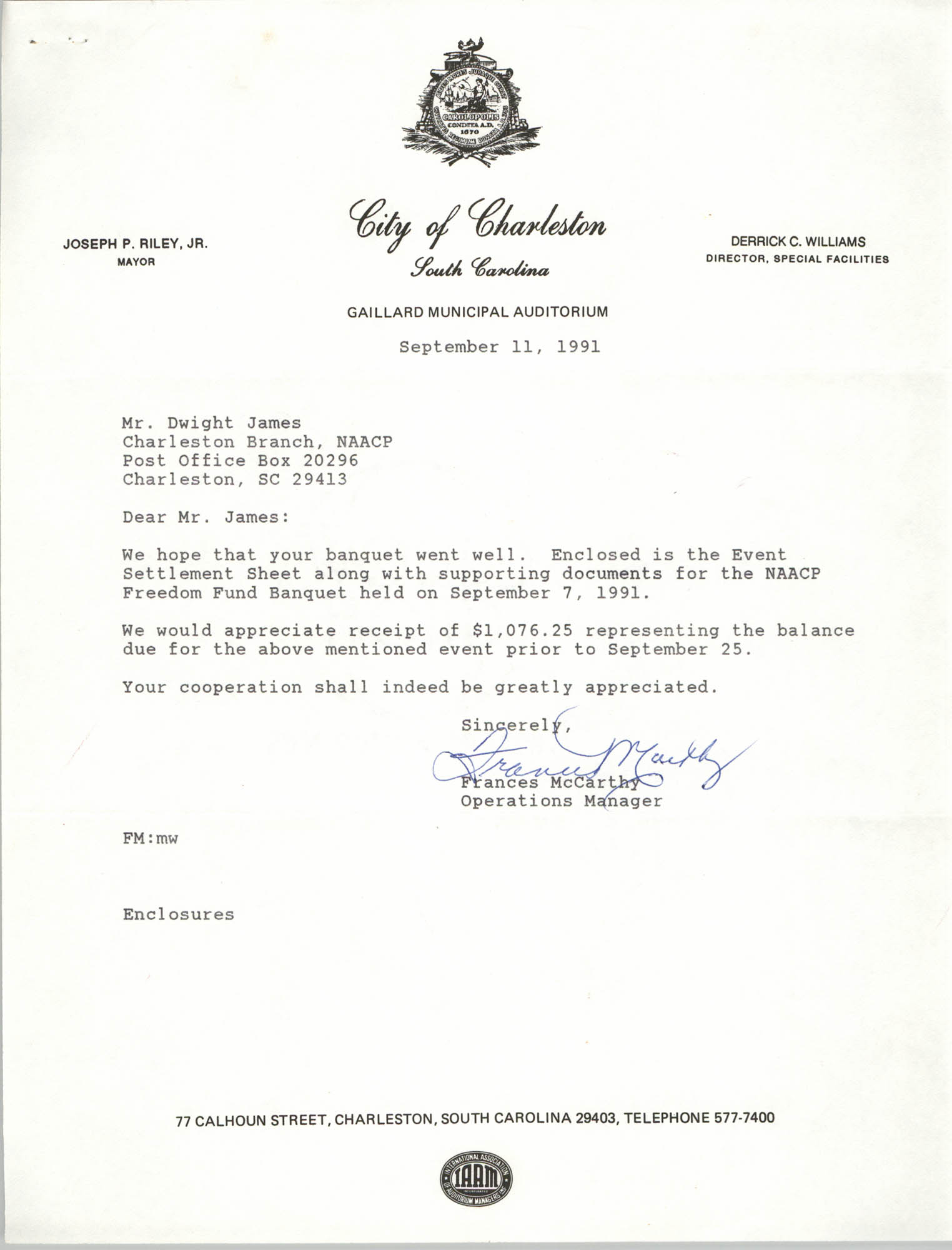 Letter from Frances McCarthy to Dwight James, September 11, 1991