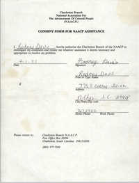 Consent Form for NAACP Assistance Signed by Rodney Davis, April 1, 1993