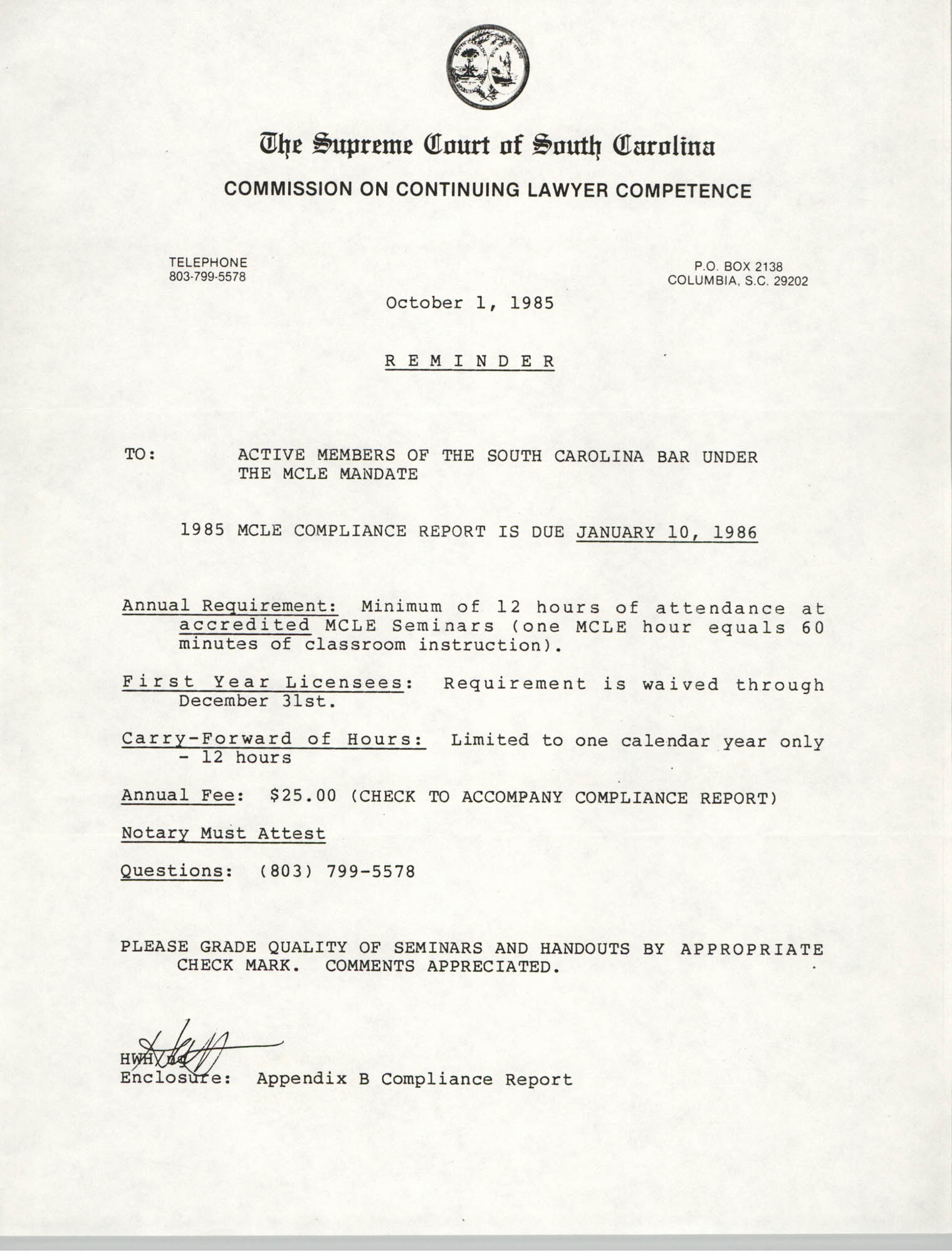 Letter from the Supreme Court of South Carolina, Commission on Continuing Lawyer Competence to Active Members of the South Carolina Bar under the MCLE Mandate, October 1, 1985