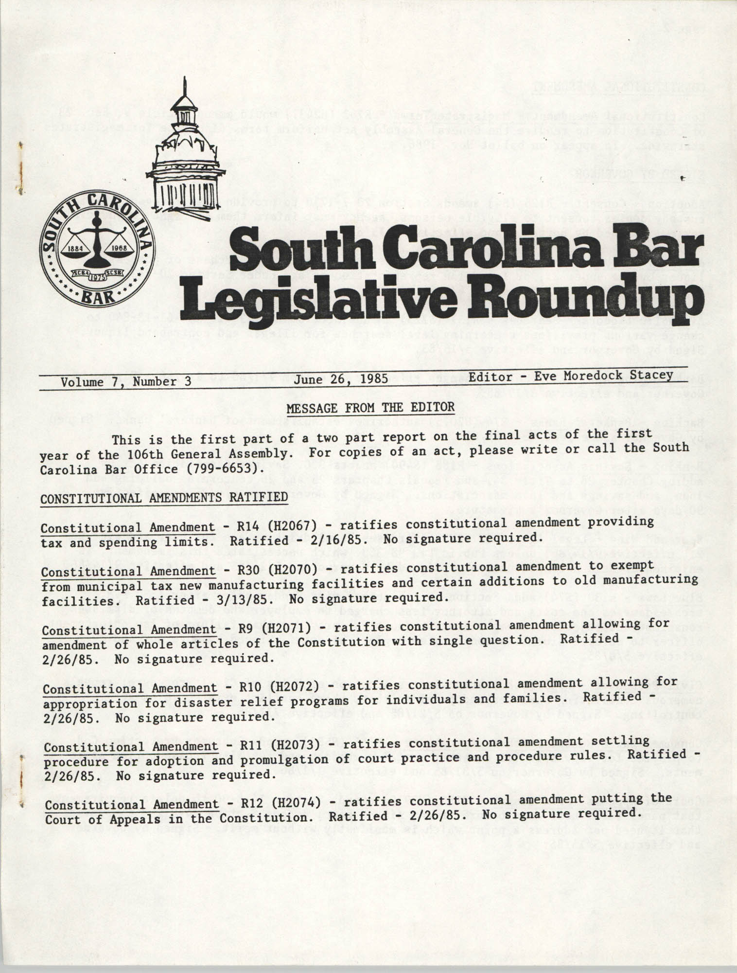South Carolina Bar Legislative Roundup, Vol. 7 No. 3, June 26, 1985