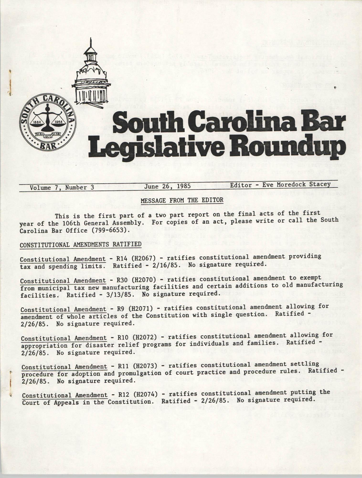 South Carolina Bar Legislative Roundup, Vol. 7 No. 3, June 26, 1985