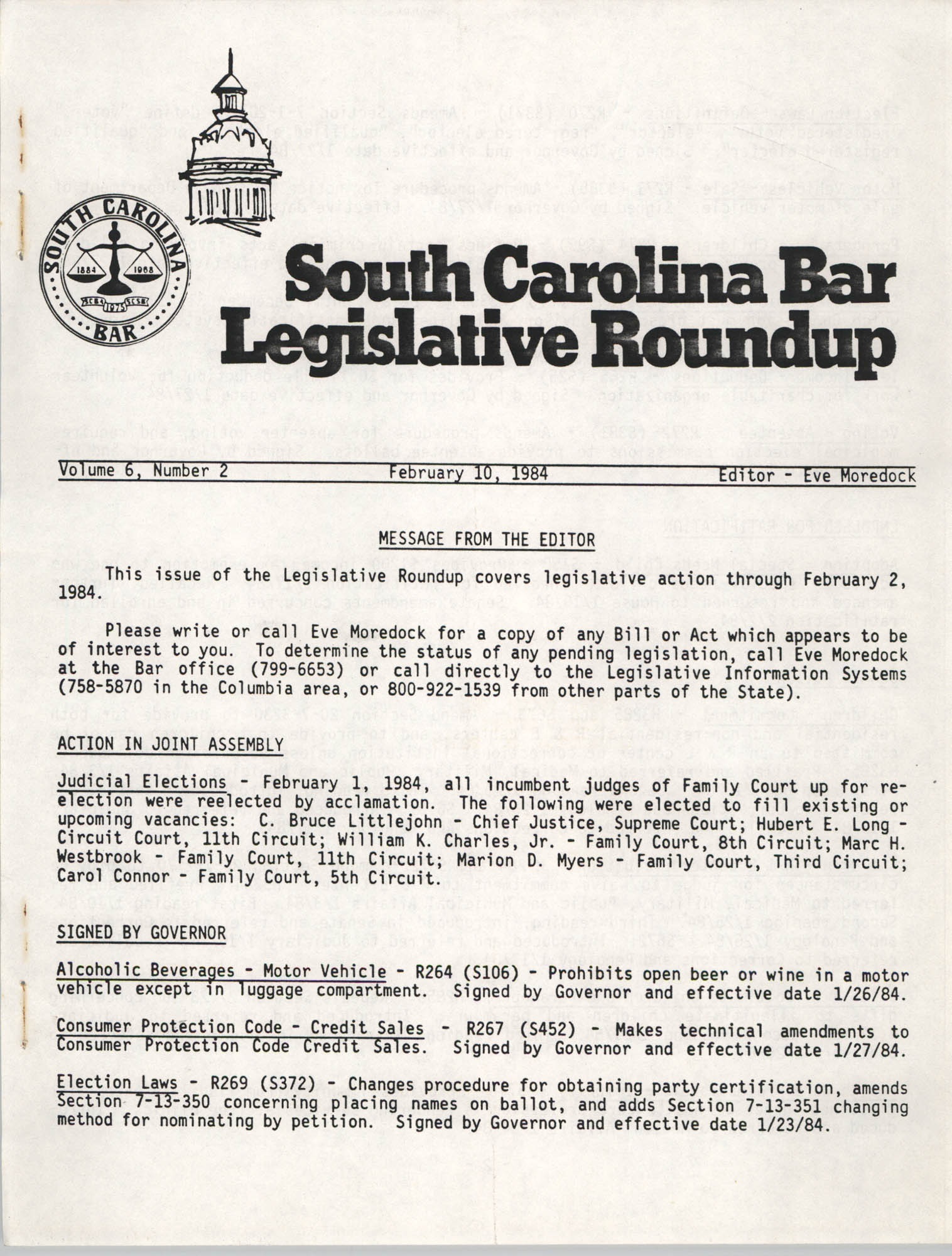 South Carolina Bar Legislative Roundup, Vol. 6 No. 2, February 10, 1984