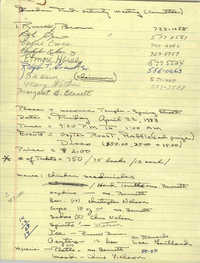 Handwritten list of names, contact information, event information, and supplies