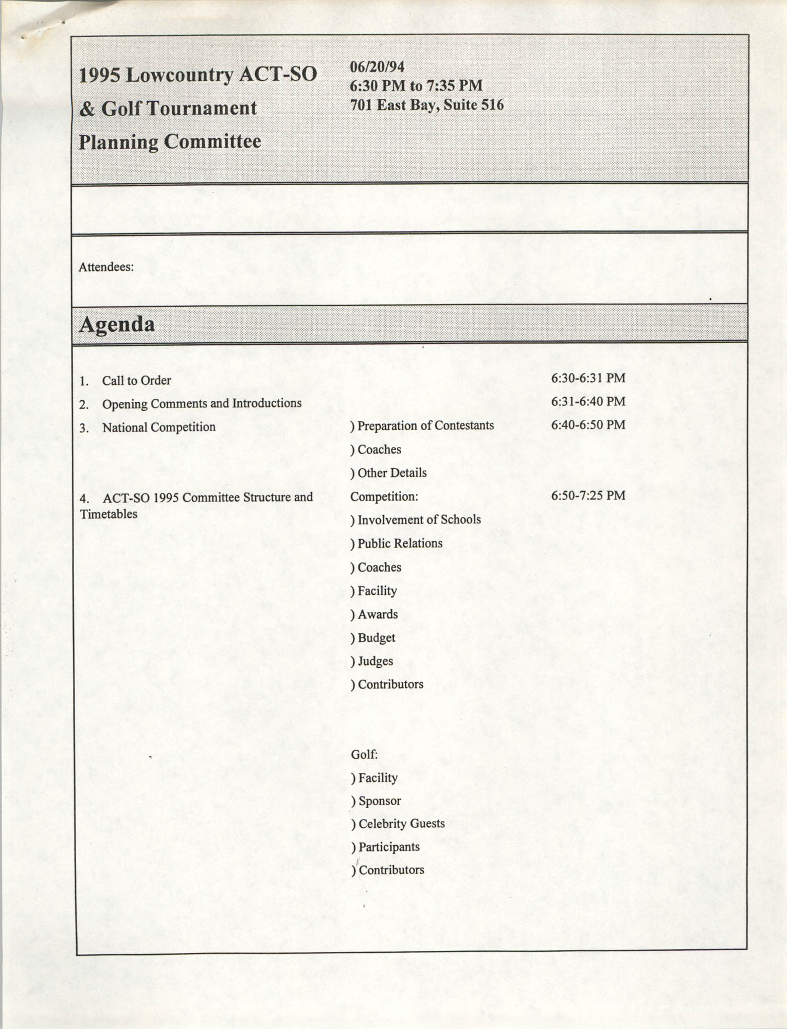 Agenda, 1995 Lowcountry ACT-SO & Golf Tournament Planning Committee