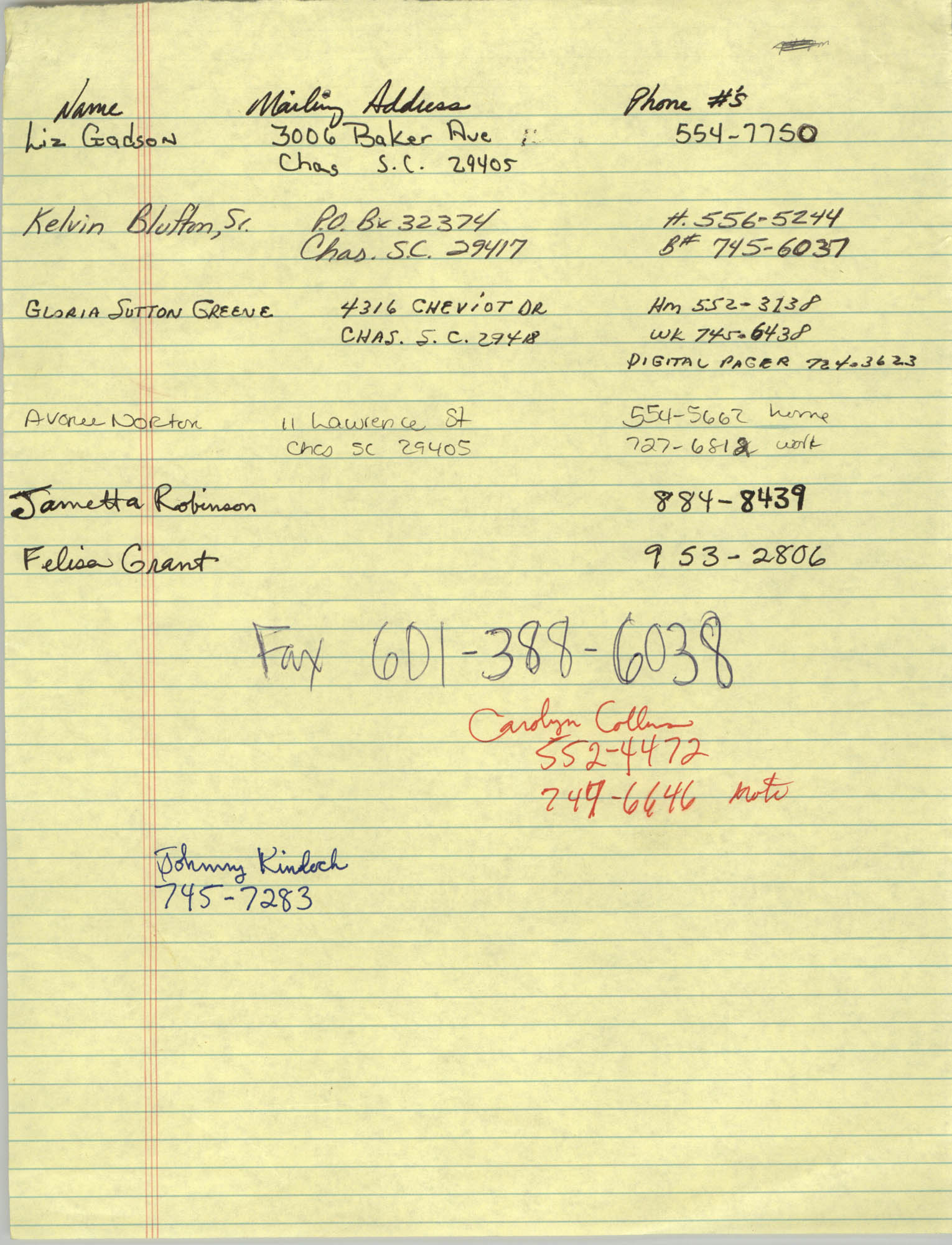 Handwritten Contact Information