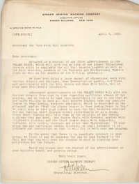 Letter from R. J. Weller to Secretary for Work with Girl Reserves, April 6, 1932
