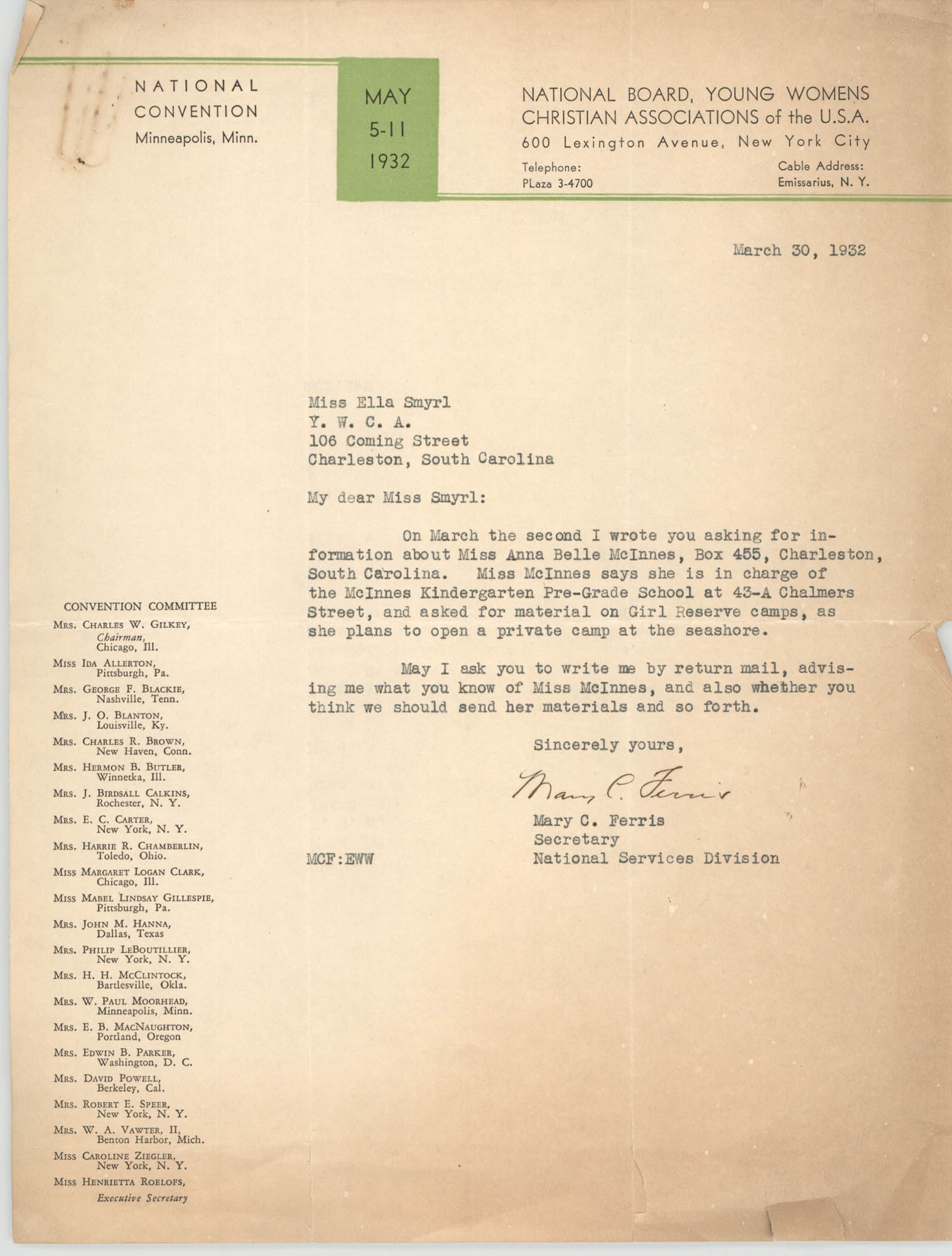 Letter from Mary C. Ferris to Ella L. Smyrl, March 30, 1932
