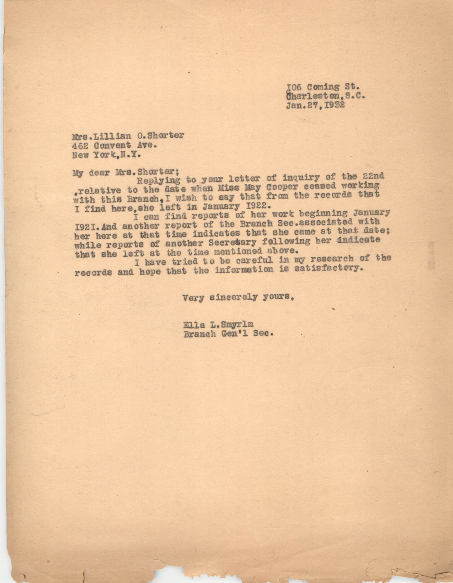 Letter from Ella L. Smyrl to Lillian O. Shorter, January 27, 1932