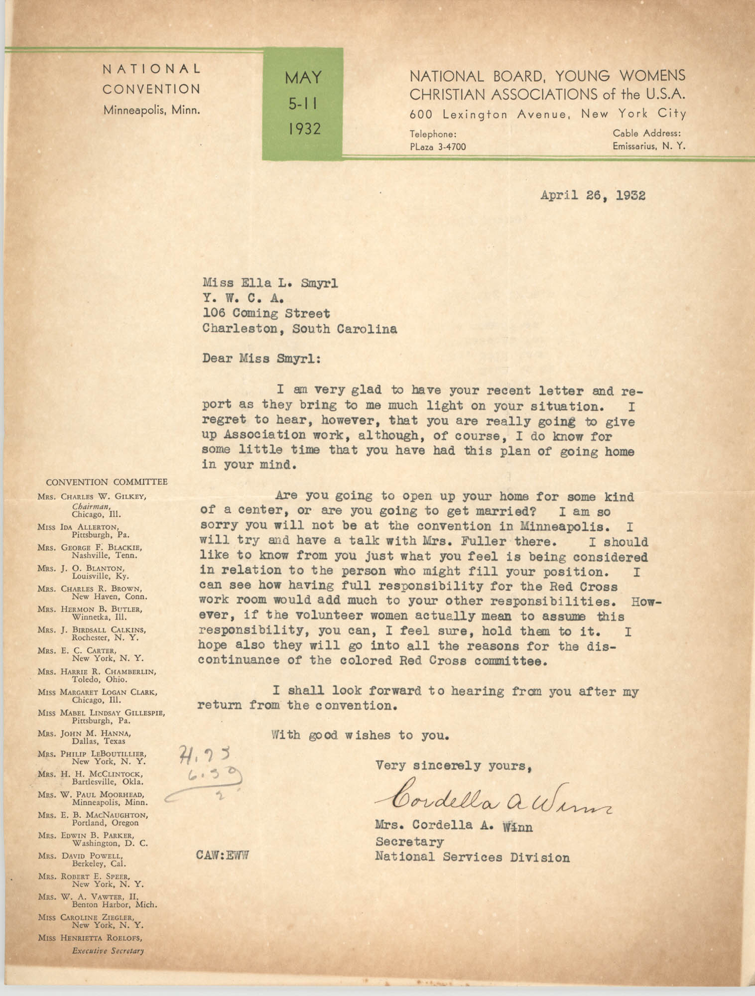Letter from Cordella A. Winn to Ella L. Smyrl, April 26, 1932