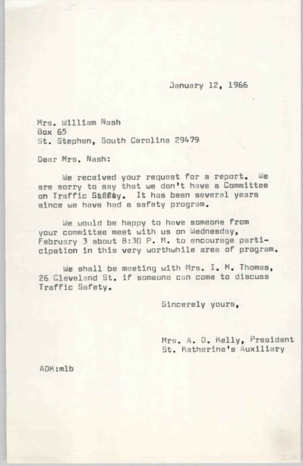 Letter from Anna D. Kelly to William Nash, January 12, 1966