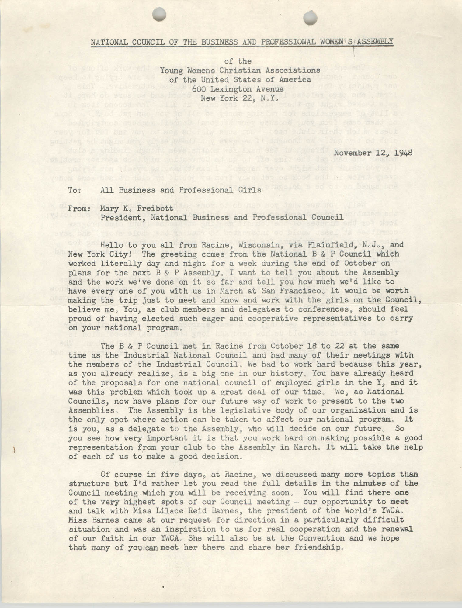 National Council of the Business and Professional Women's Assembly of the Y.W.C.A. Memorandum, November 12, 1948