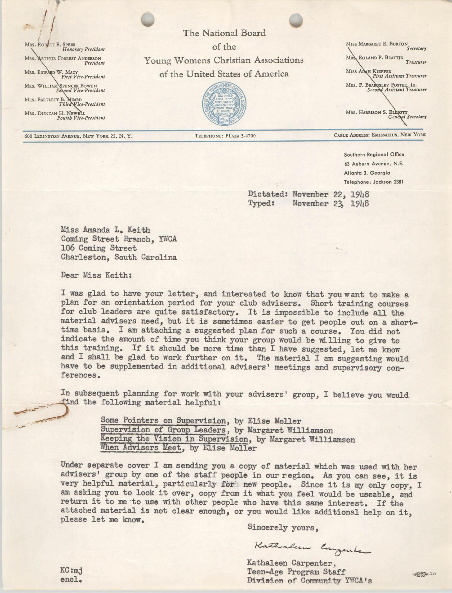 National Board of the Y.W.C.A. Memorandum, November 23, 1948