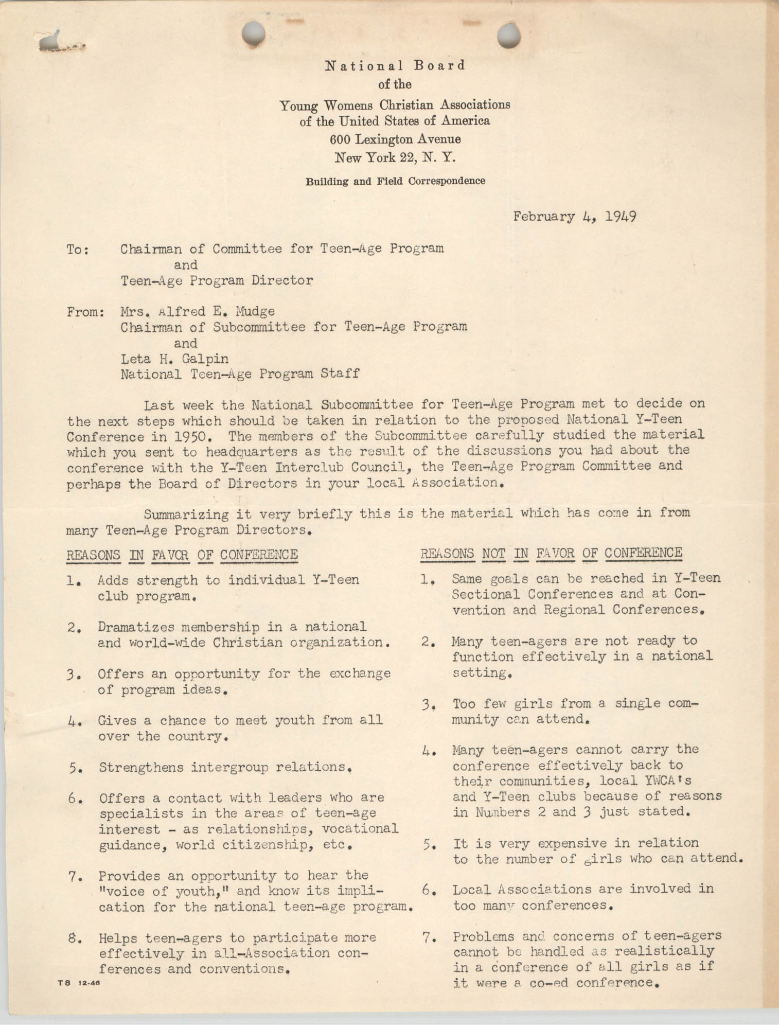 National Board of the Y.W.C.A. Memorandum, February 4, 1949