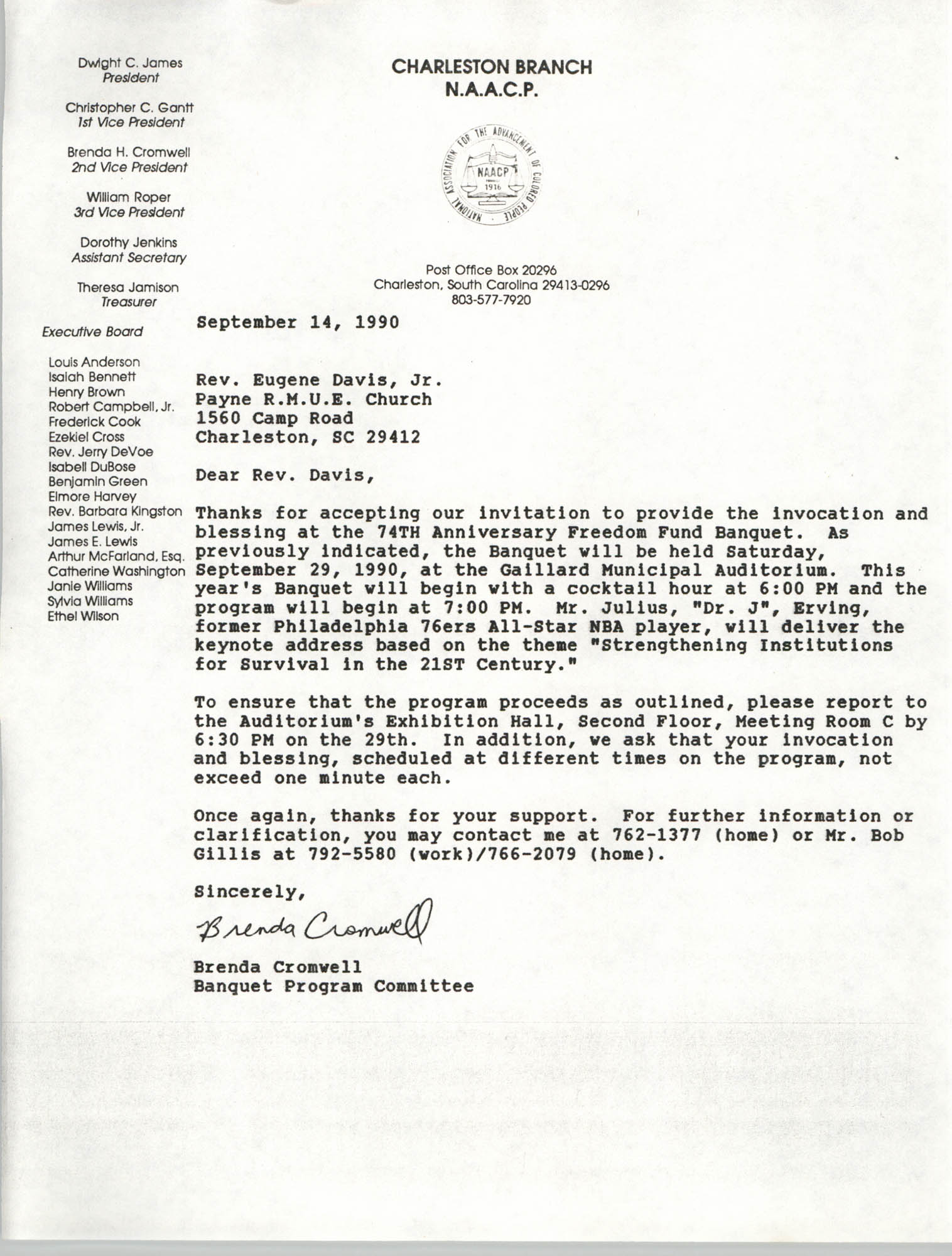 Letter from Brenda Cromwell to Rev. Eugene Davis, Jr., September 14, 1990