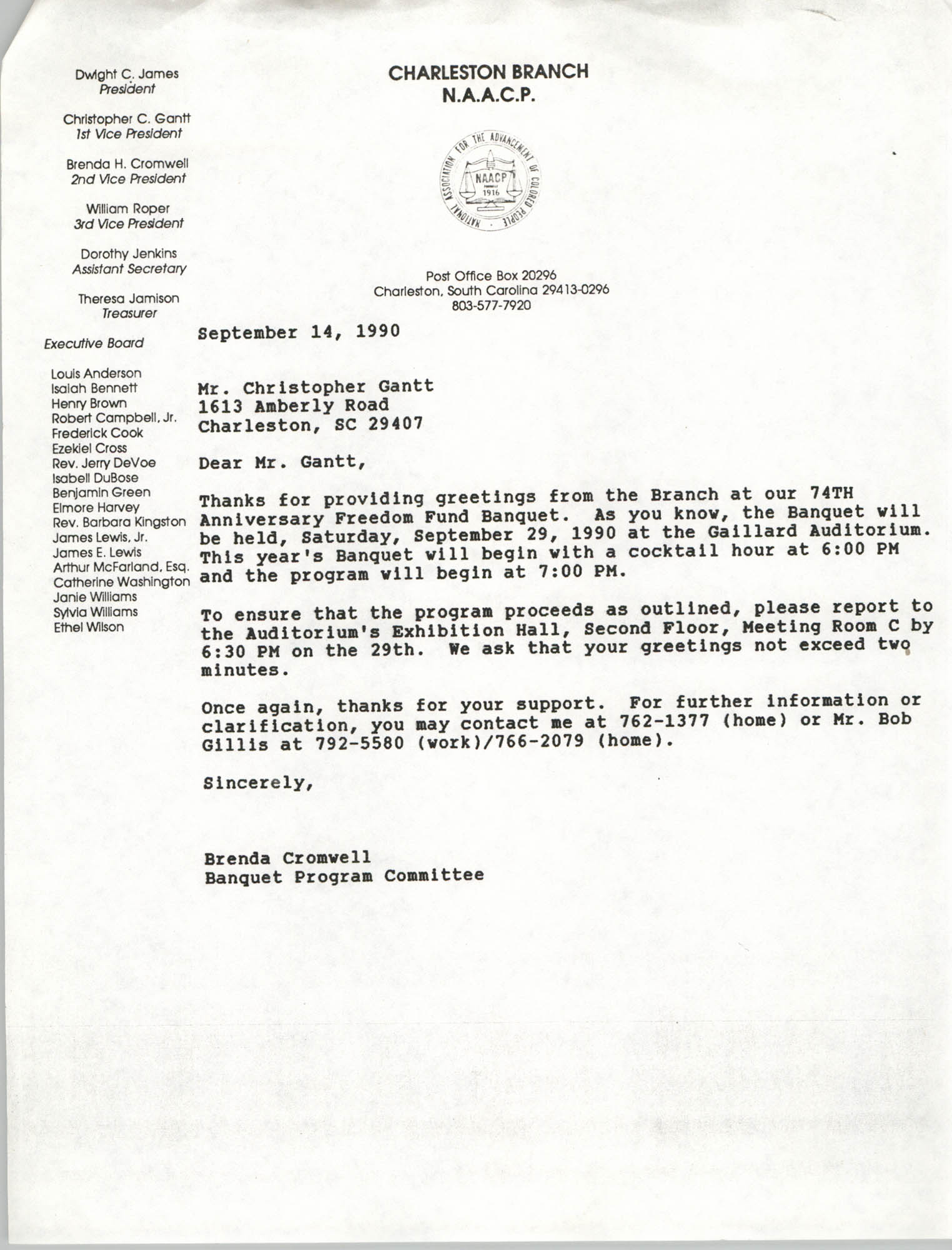 Letter from Brenda Cromwell to Christopher Gantt, September 14, 1990