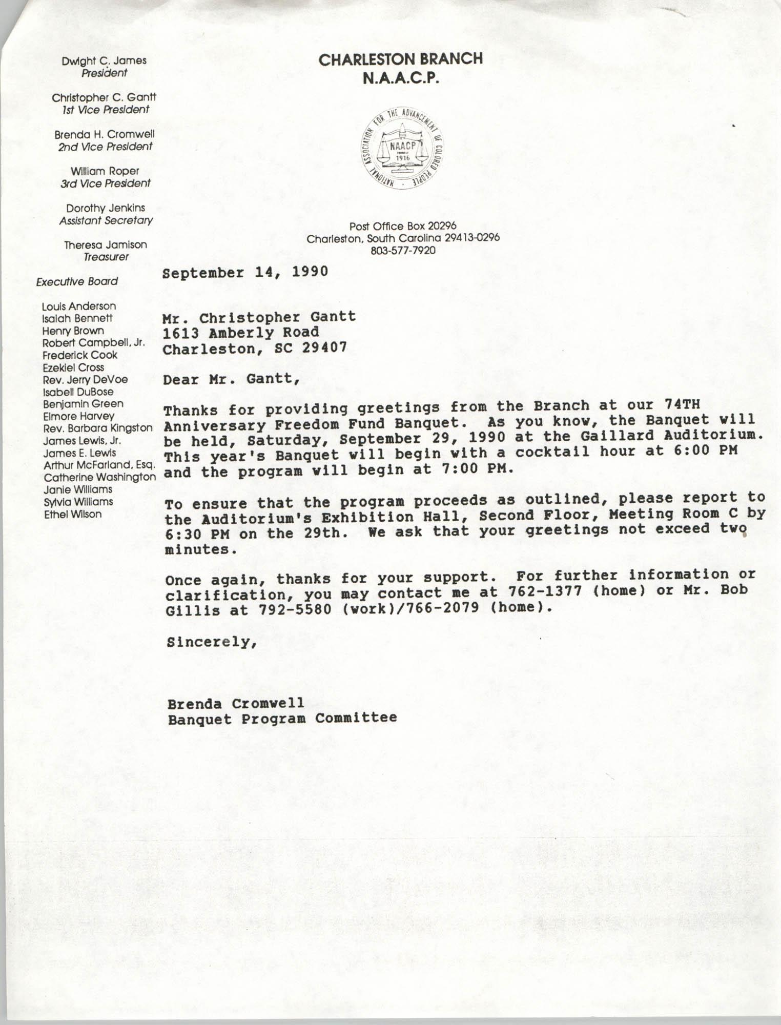 Letter from Brenda Cromwell to Christopher Gantt, September 14, 1990