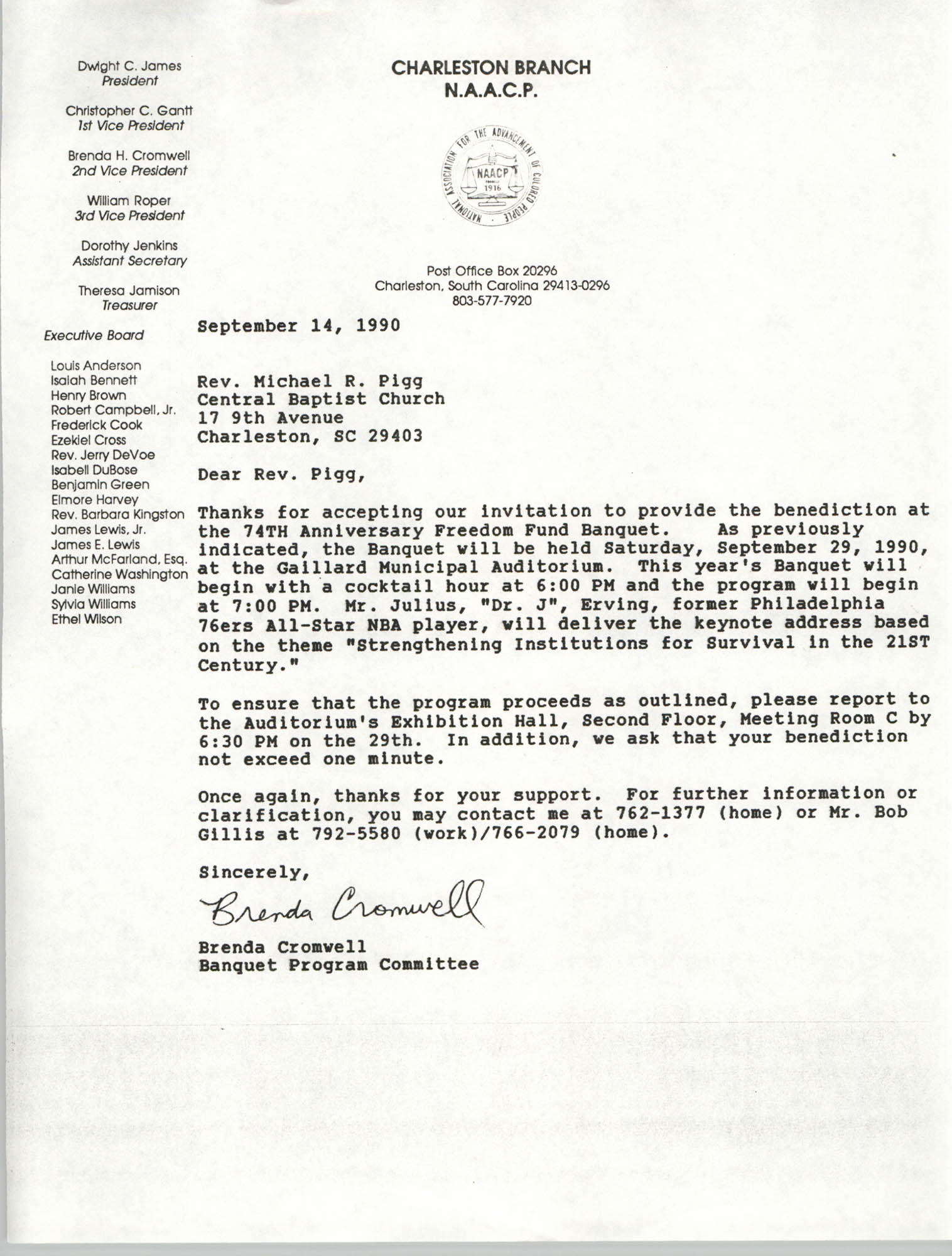 Letter from Brenda Cromwell to Rev. Michael R. Pigg, September 14, 1990