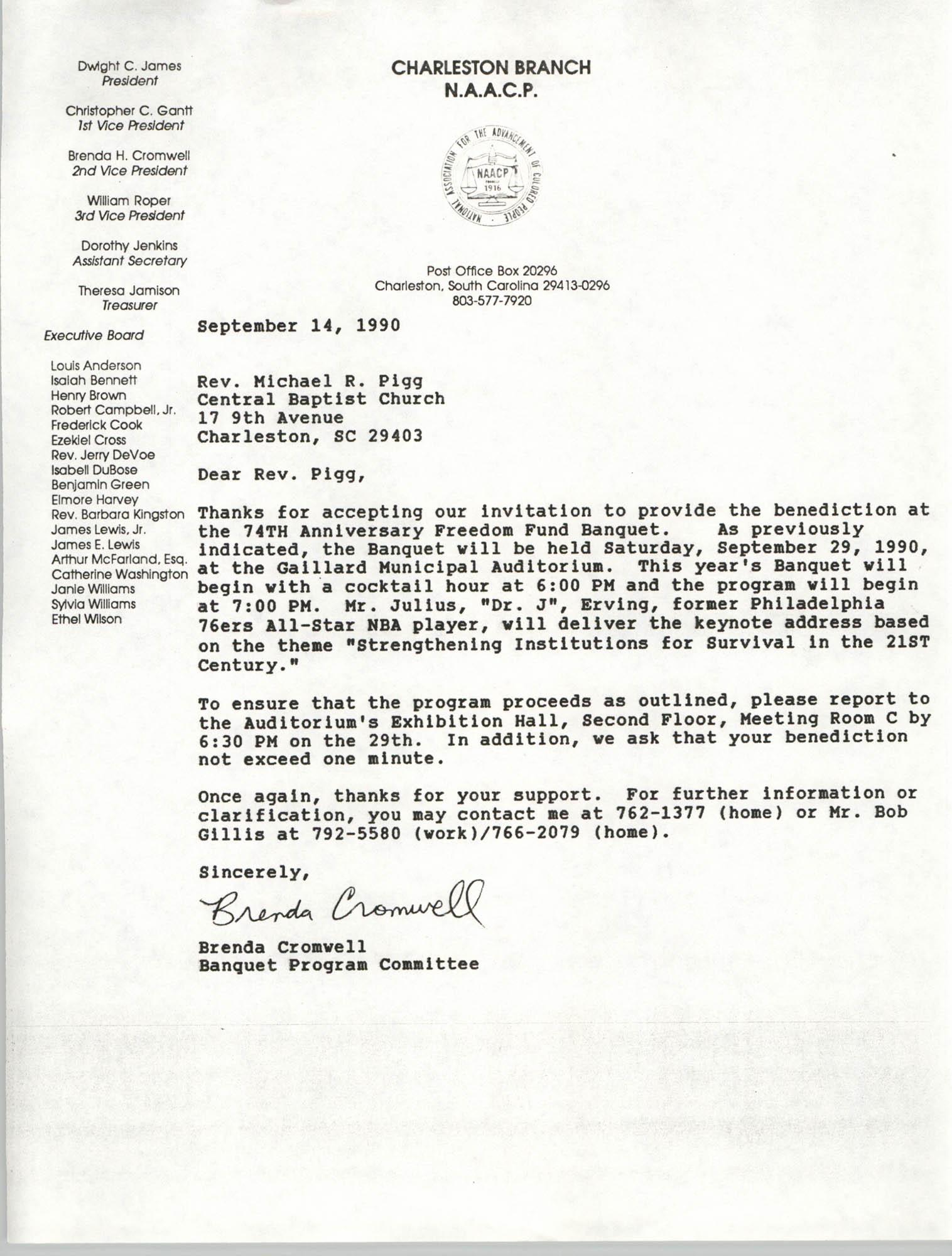 Letter from Brenda Cromwell to Rev. Michael R. Pigg, September 14, 1990