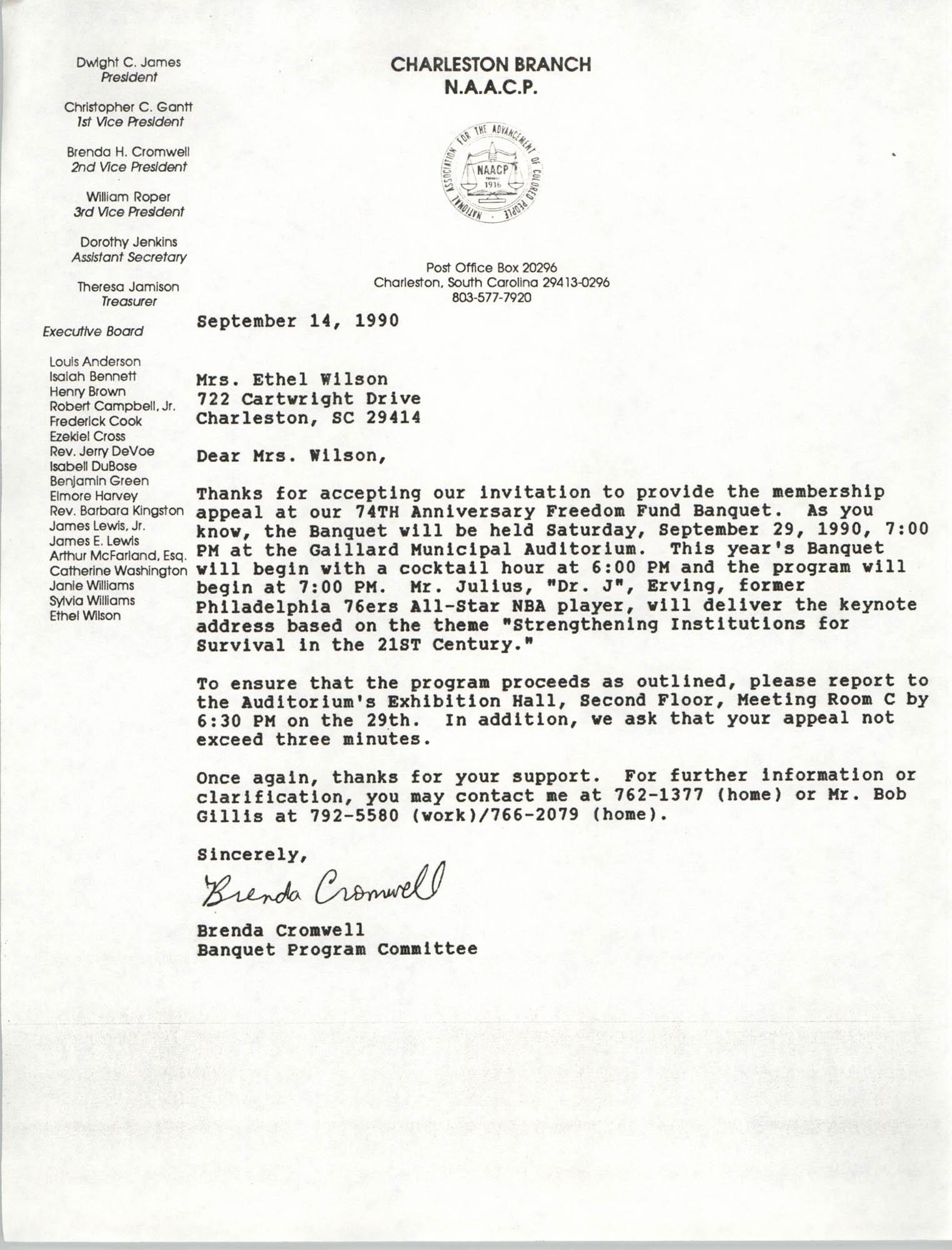 Letter from Brenda Cromwell to Ethel Wilson, September 14, 1990
