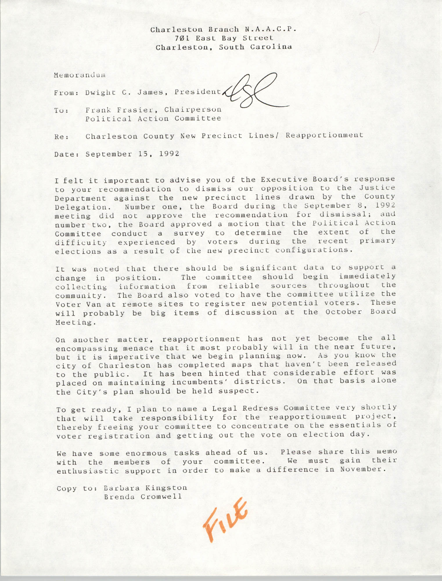 Memorandum, Dwight C. James, September 15, 1992