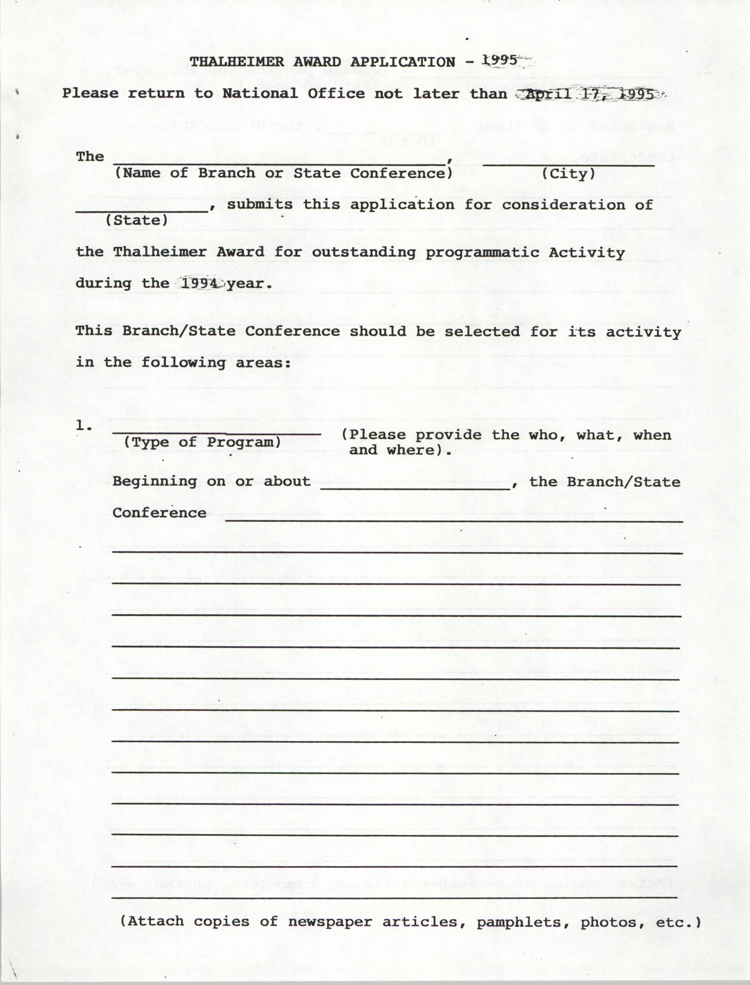 Thalheimer Award Application, NAACP, 1995