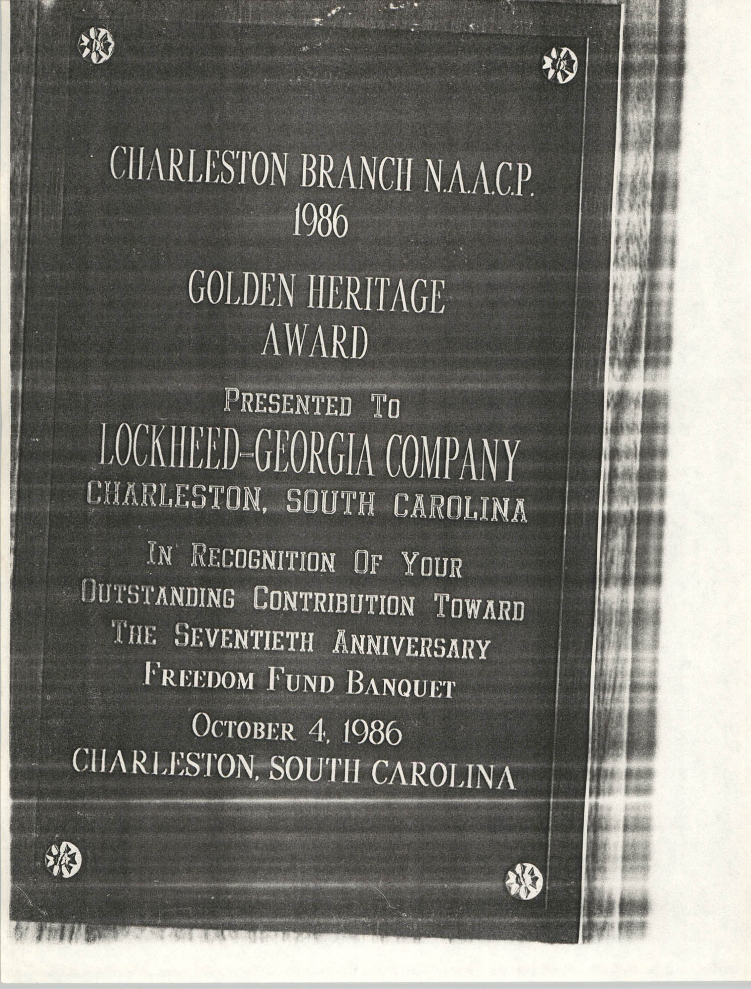 Award, Charleston Branch of the NAAACP 1986 Golden Heritage Award, Lockheed-Georgia Company, Freedom Fund Banquet, October 4, 1986