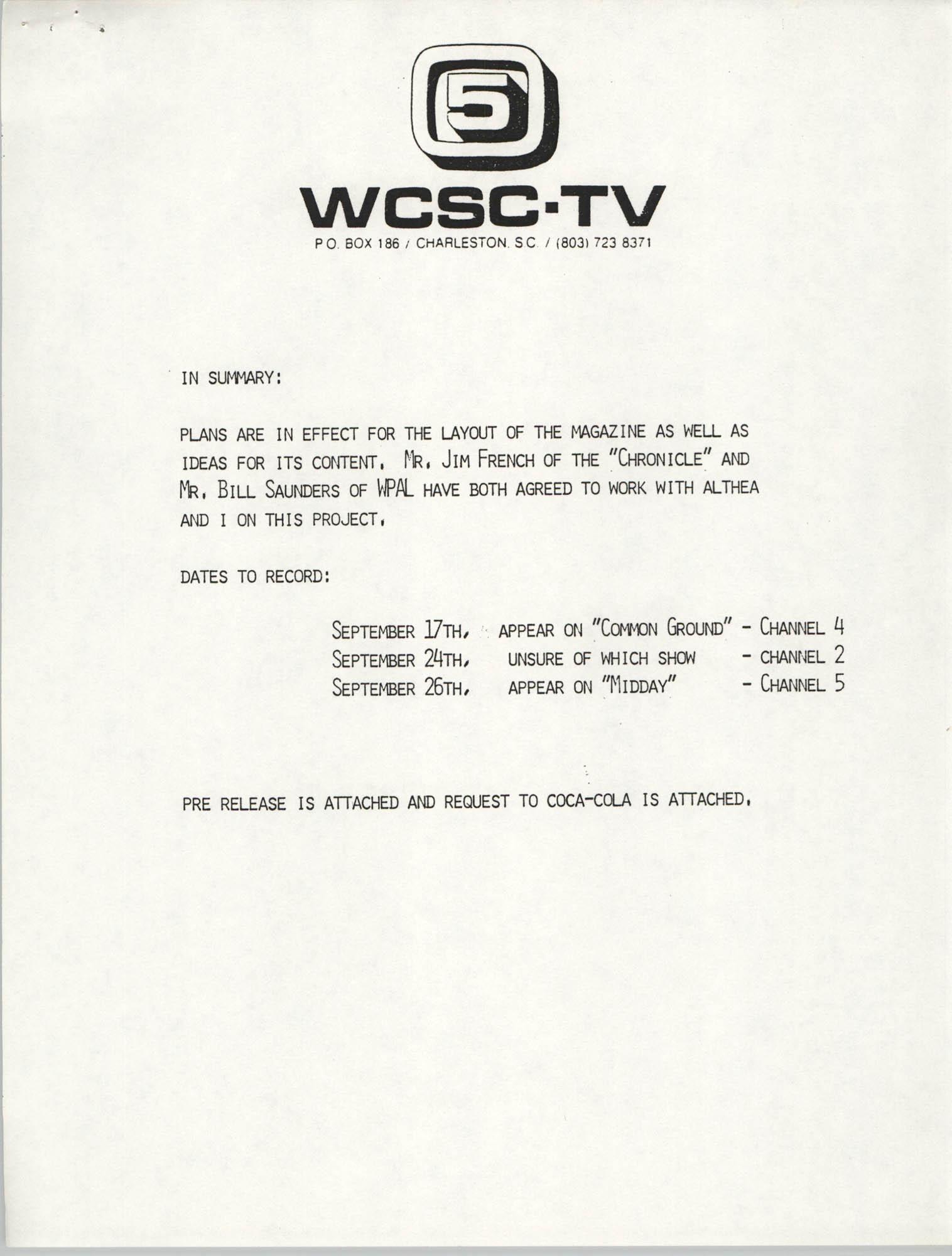 Notification, WCSC-TV 5