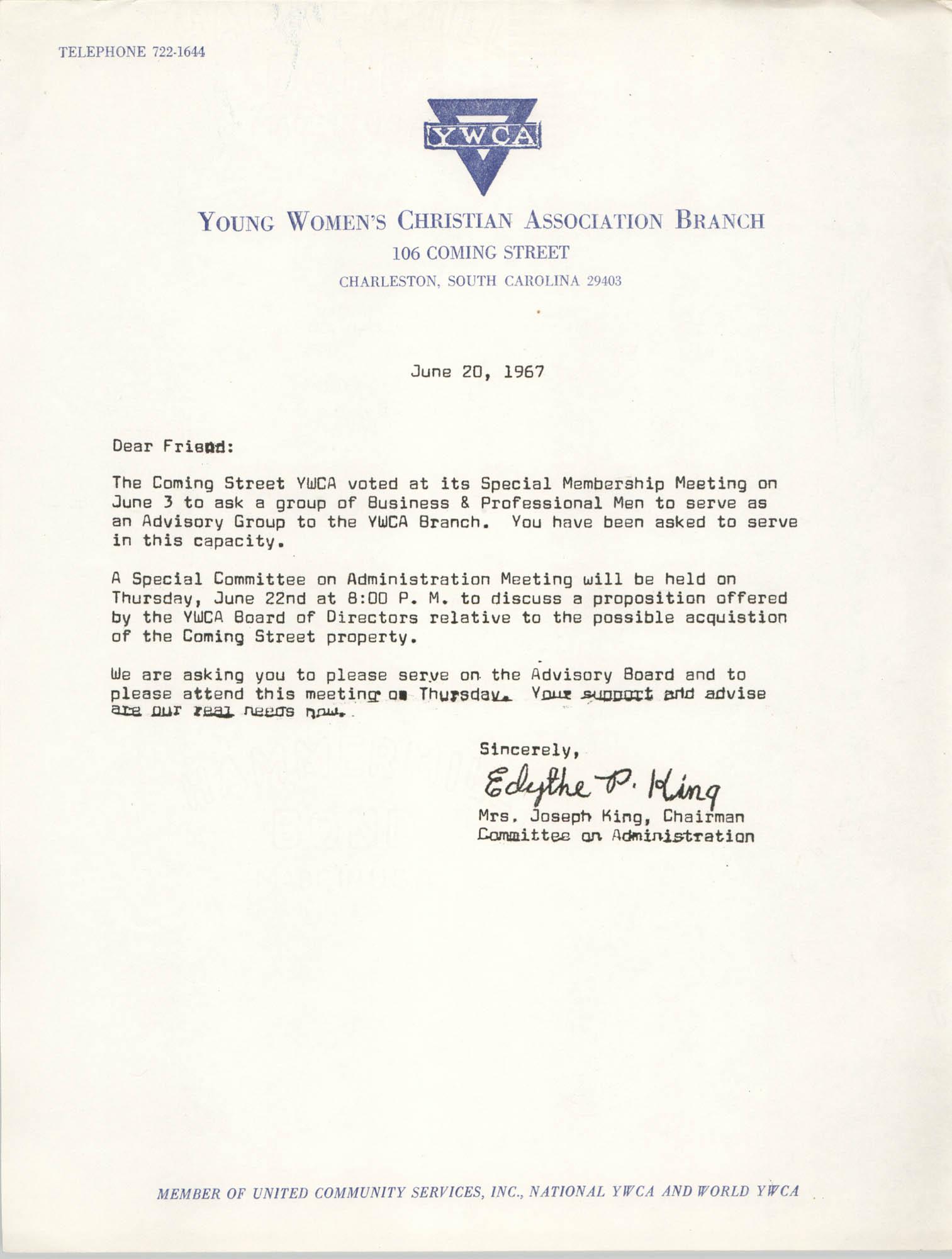Letter from Mrs. Joseph King, June 20, 1967