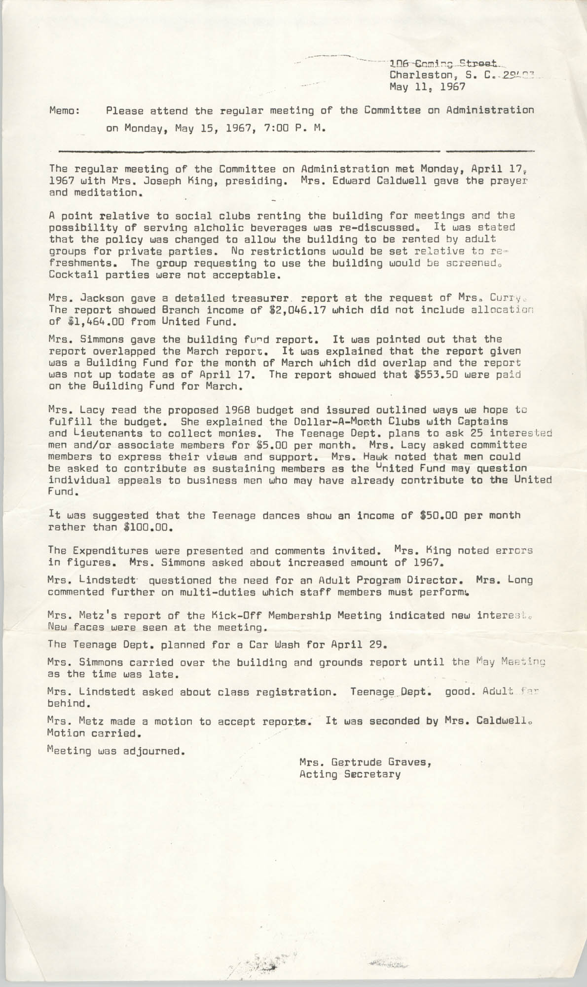 Coming Street Y.W.C.A. Memorandum, May 11, 1967