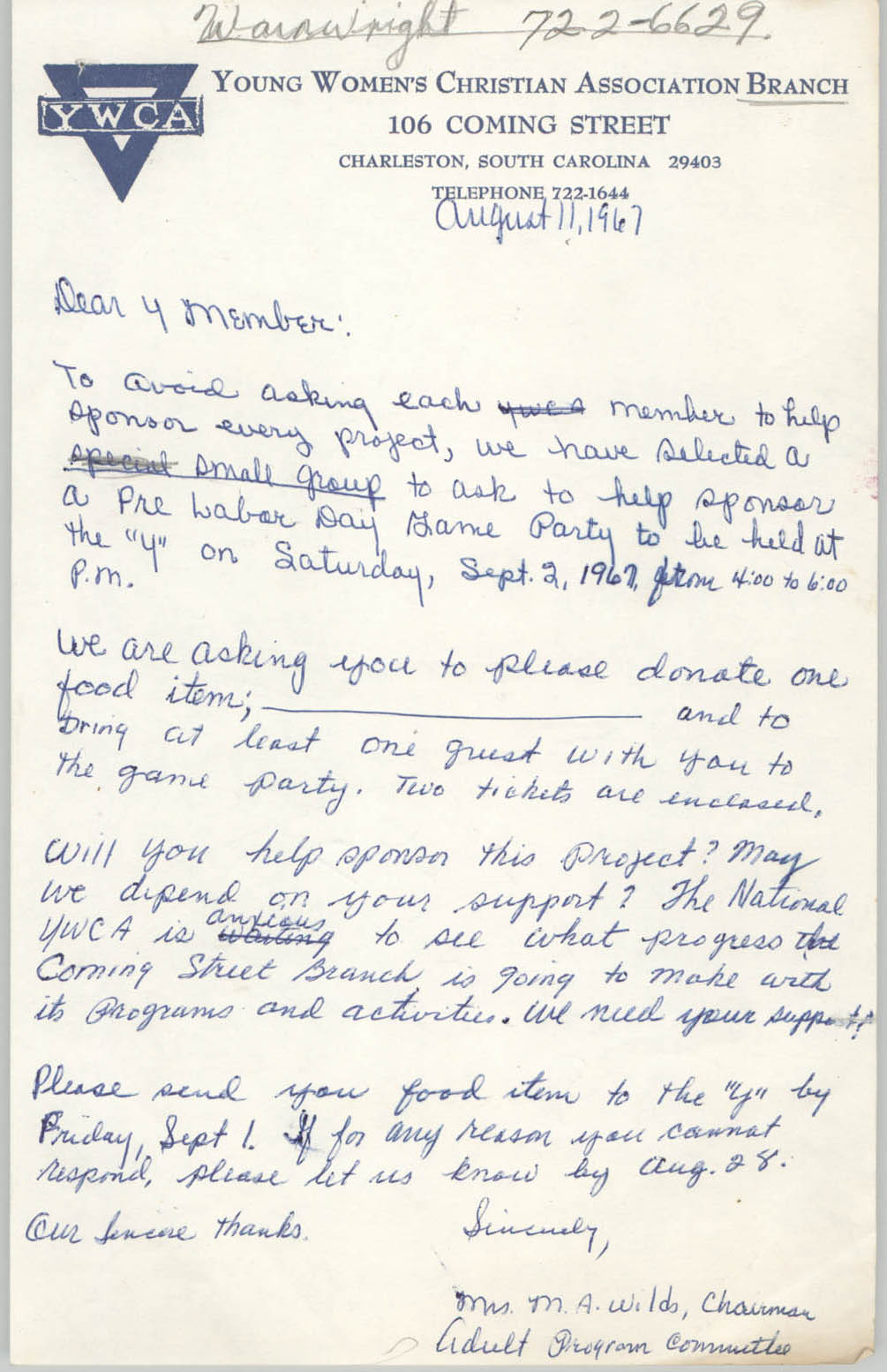 Letter from Mrs. M. A. Wilds, August 11, 1967
