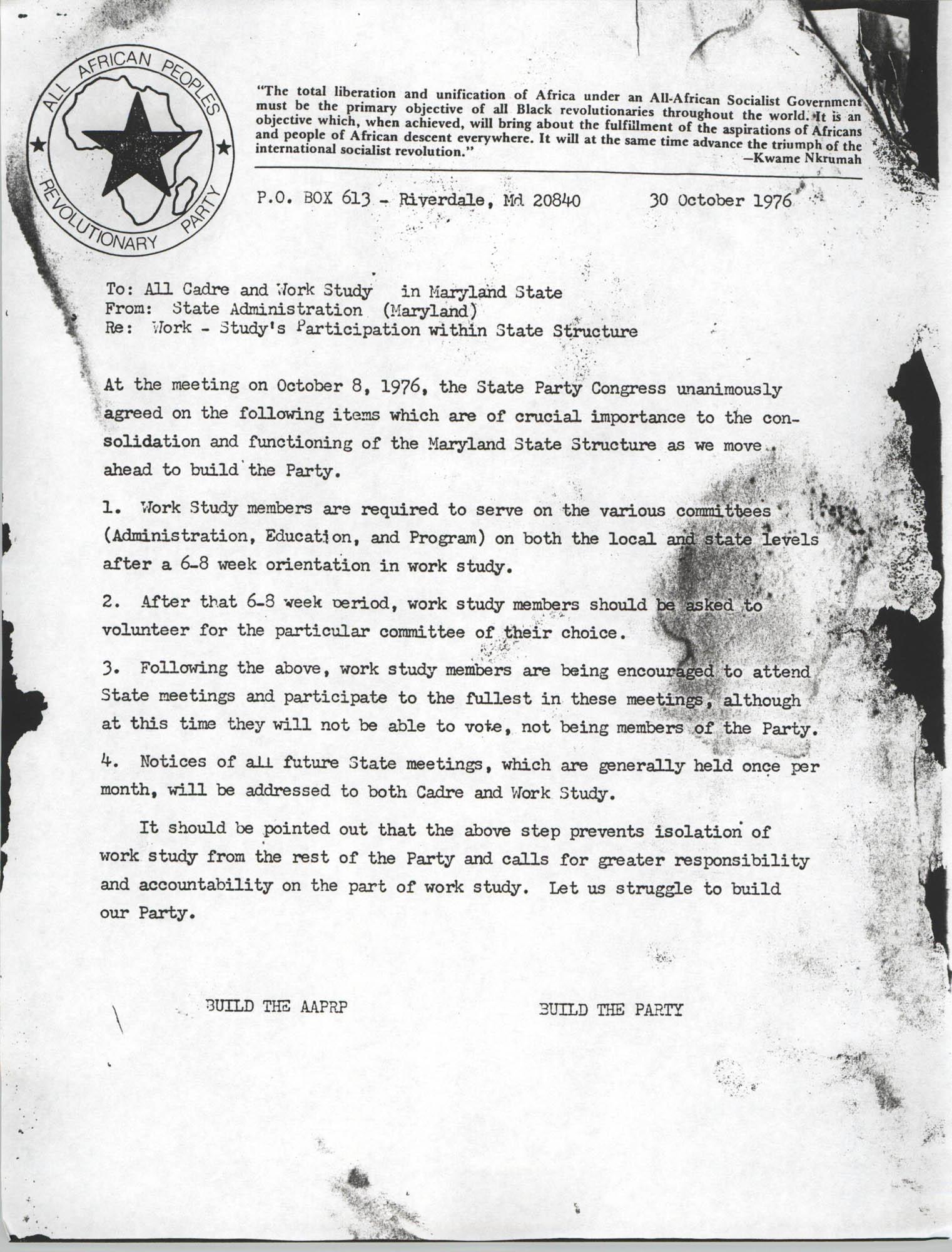 All African People's Revolutionary Party Memorandum, October 30, 1976