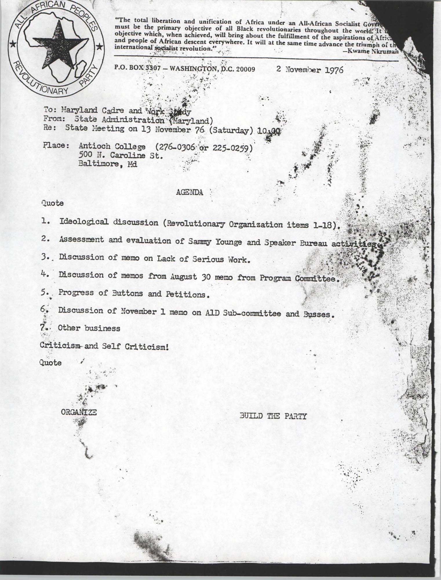 All African People's Revolutionary Party Memorandum, November 2, 1976