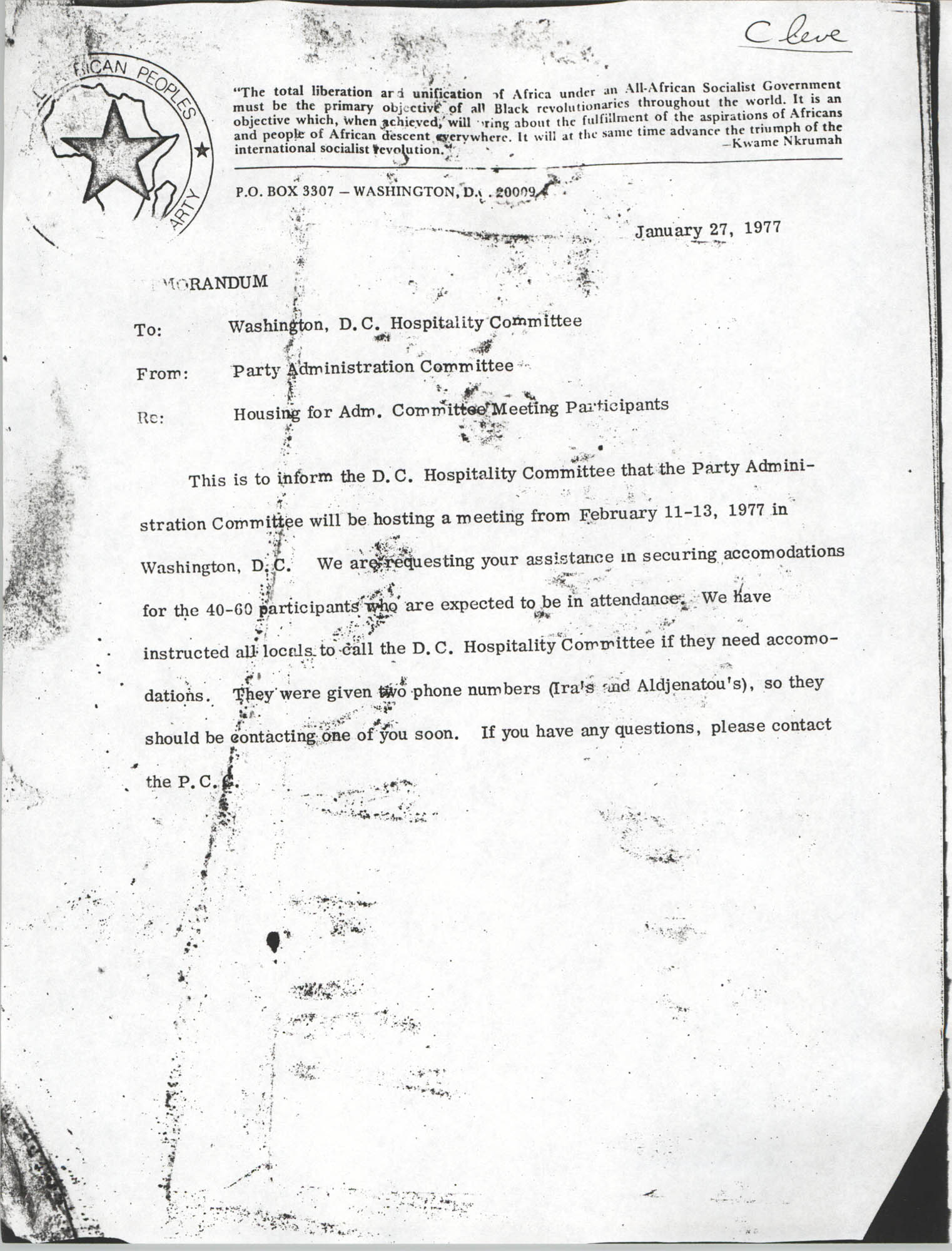 All African People's Revolutionary Party Memorandum, January 27, 1977