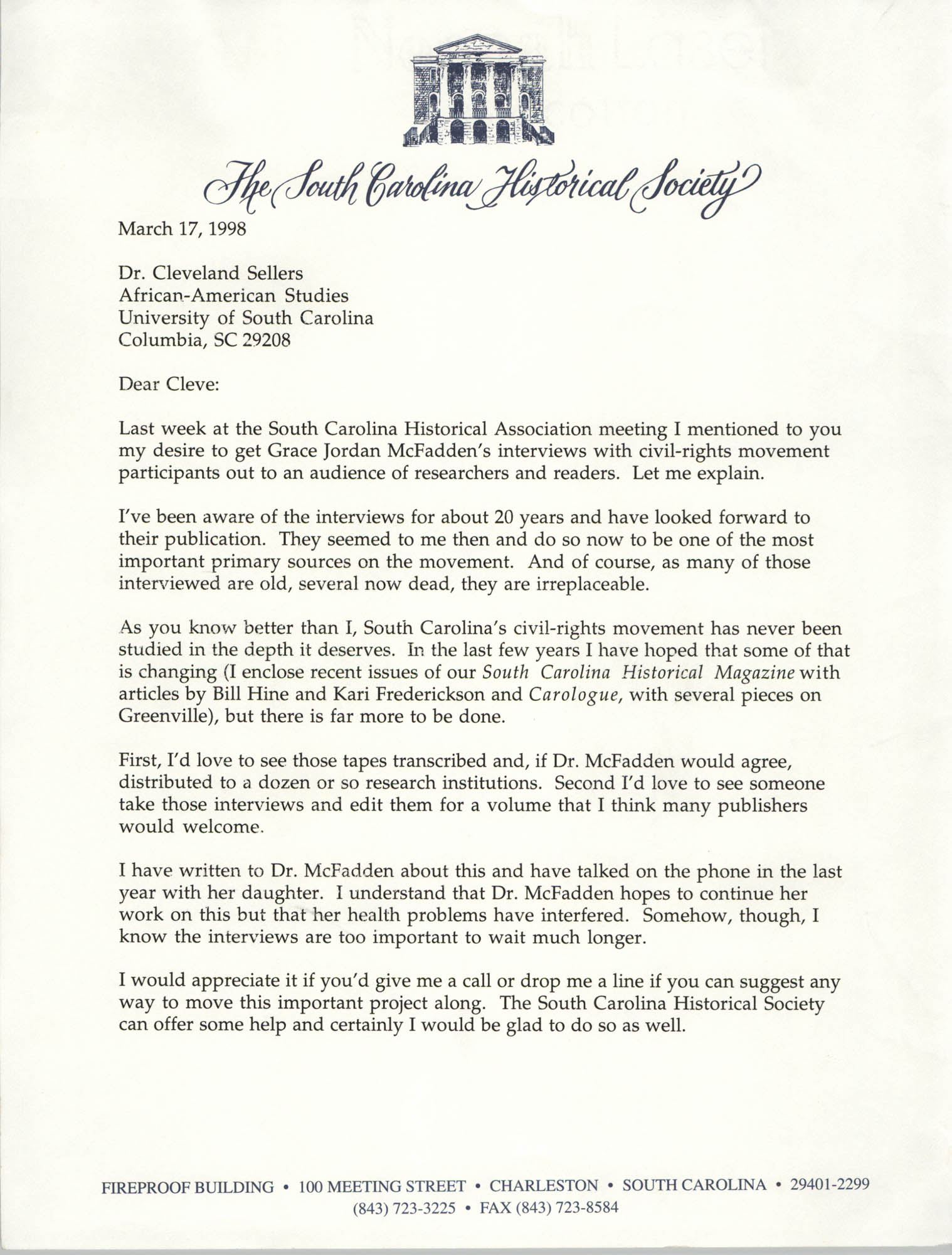 Letter from Stephen Hoffius to Cleveland Sellers, March 17, 1998