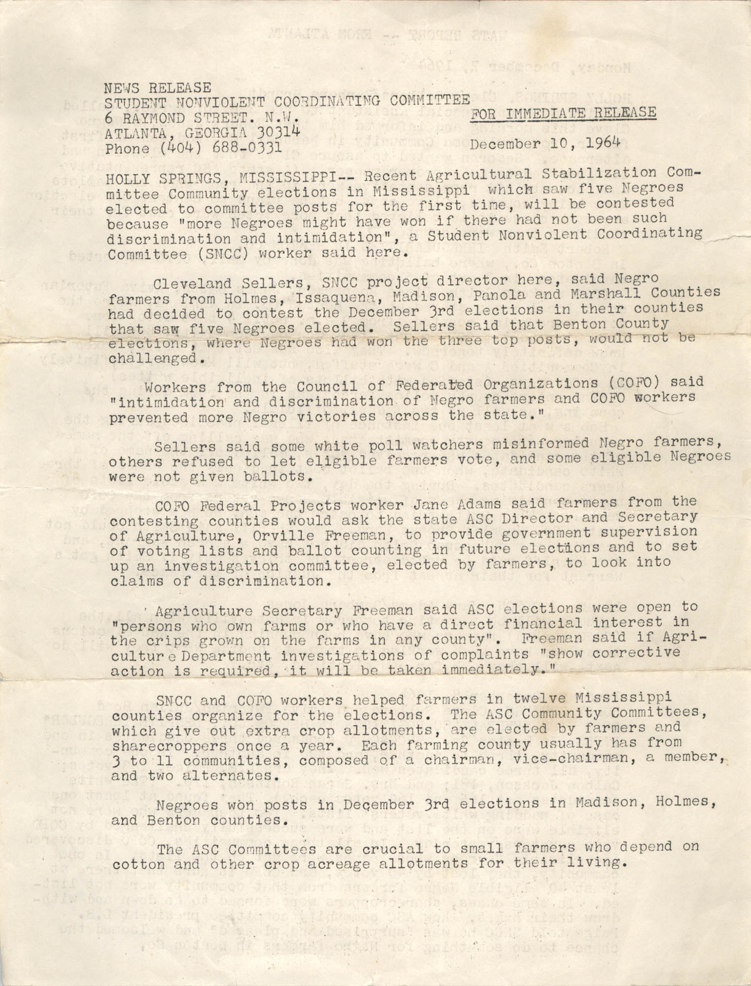 Student Nonviolent Coordinating Committee Press Release, December 10, 1964