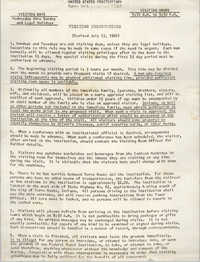 United States Penitentiary Visiting Instructions, July 13, 1966