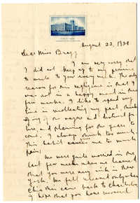 Letter from C.C. Tseng to Laura M. Bragg, August 22, 1928