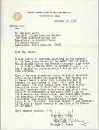 Letter from Matthew J. Perry to Delbert Woods, October 17, 1977