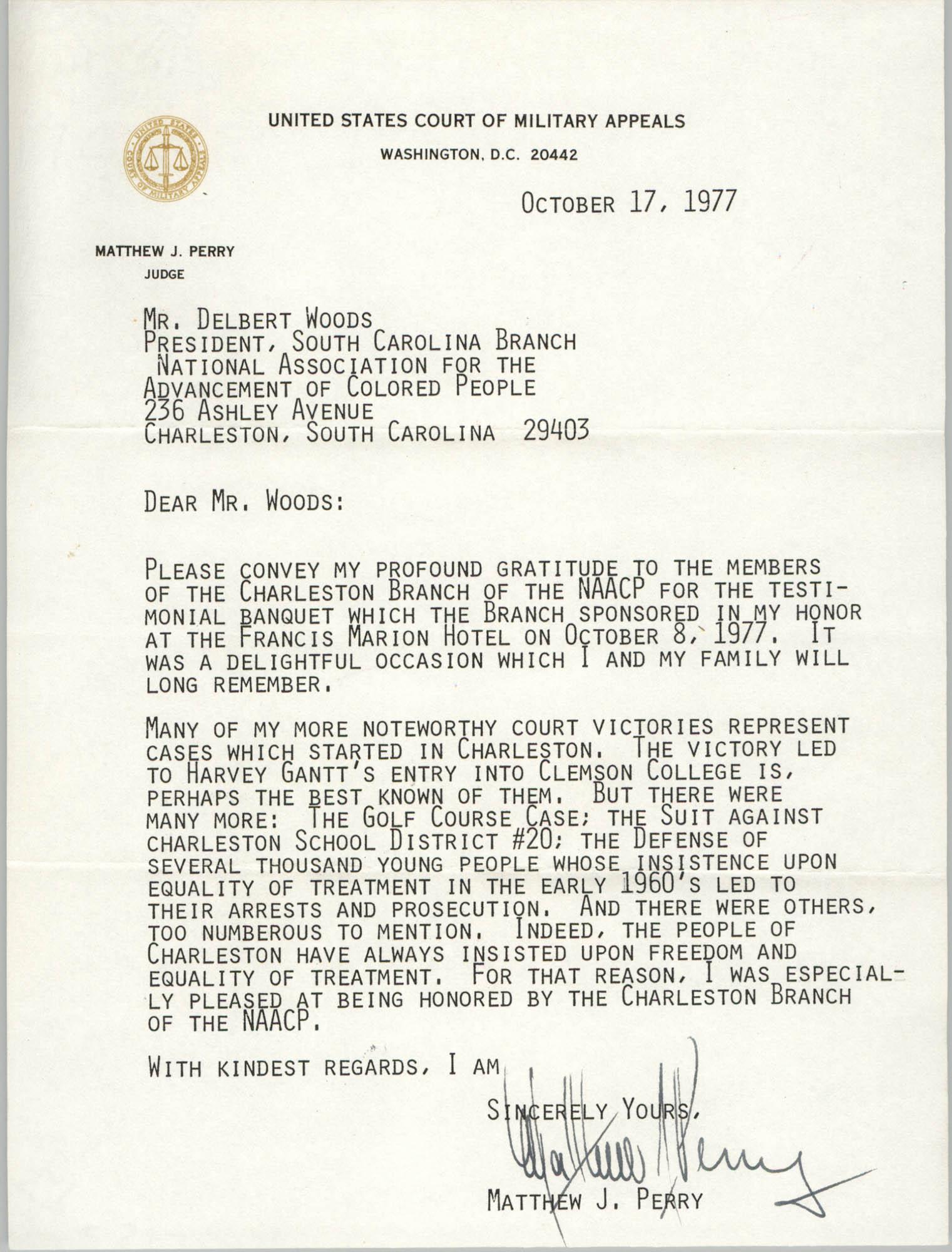 Letter from Matthew J. Perry to Delbert Woods, October 17, 1977