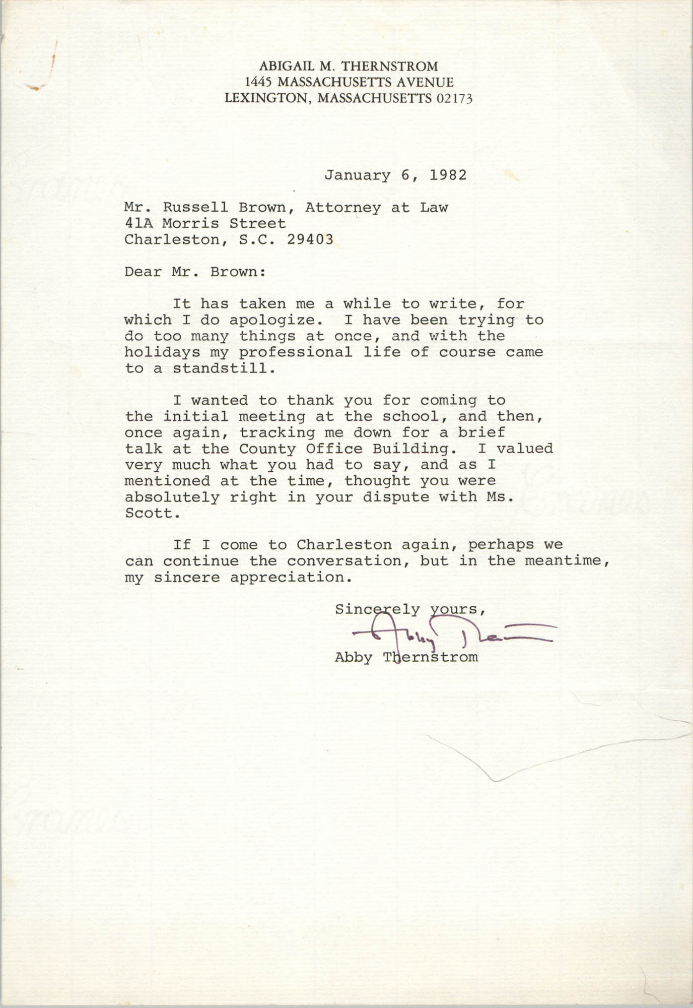 Letter from Abigail M. Thernstrom to Russell Brown, January 6, 1982