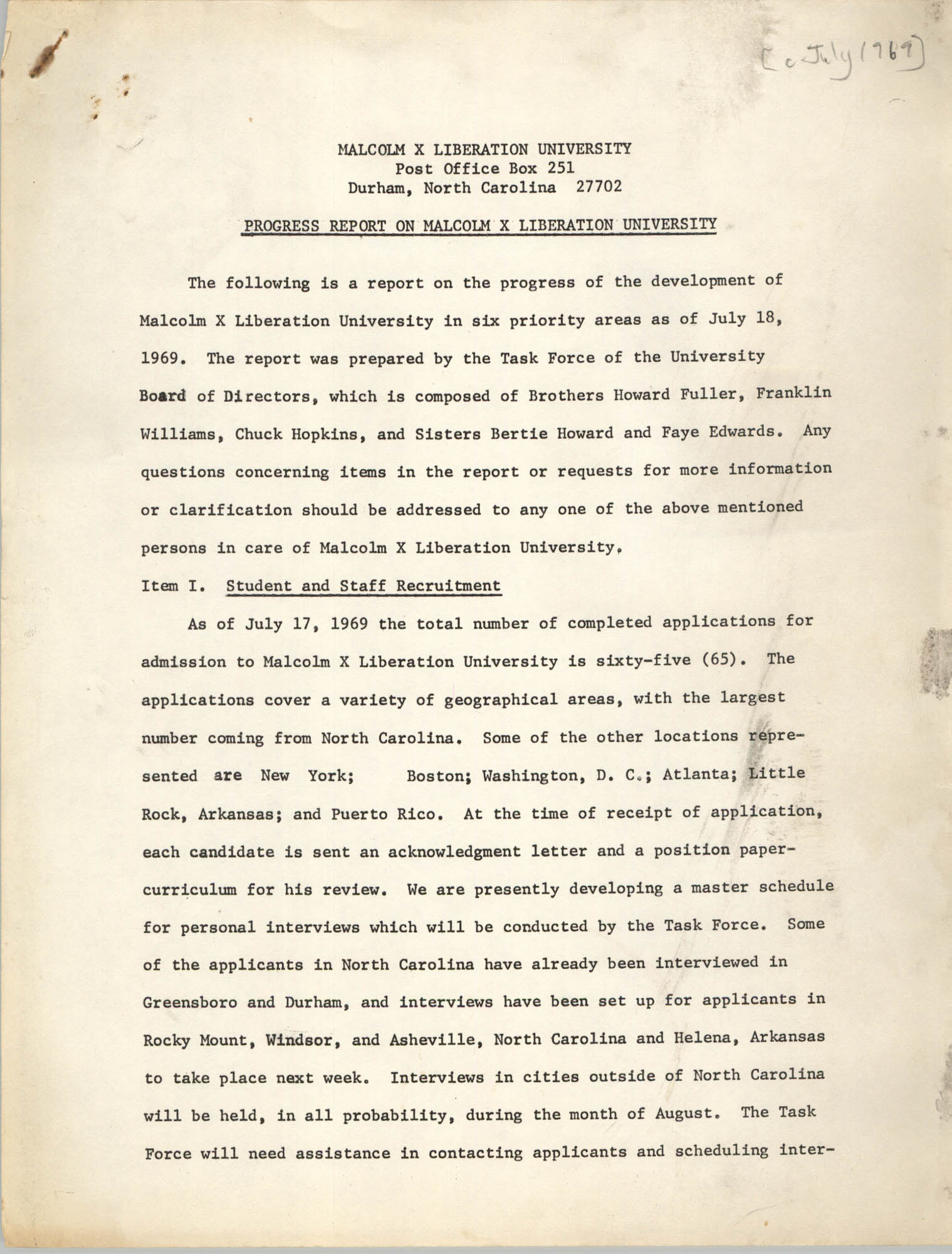 Progress Report on Malcolm X Liberation University, July 1969