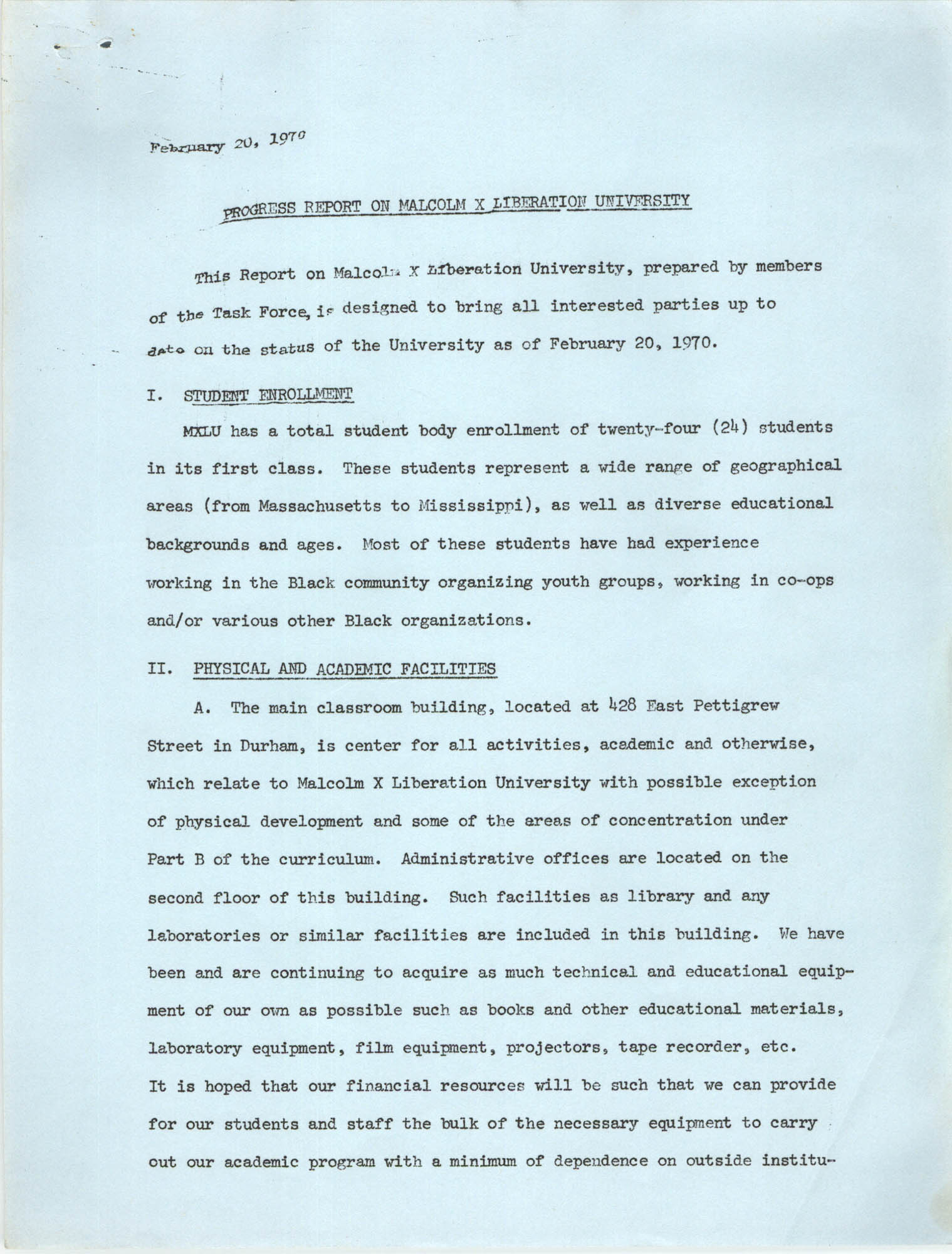 Progress Report on Malcolm X Liberation University, February 20, 1970