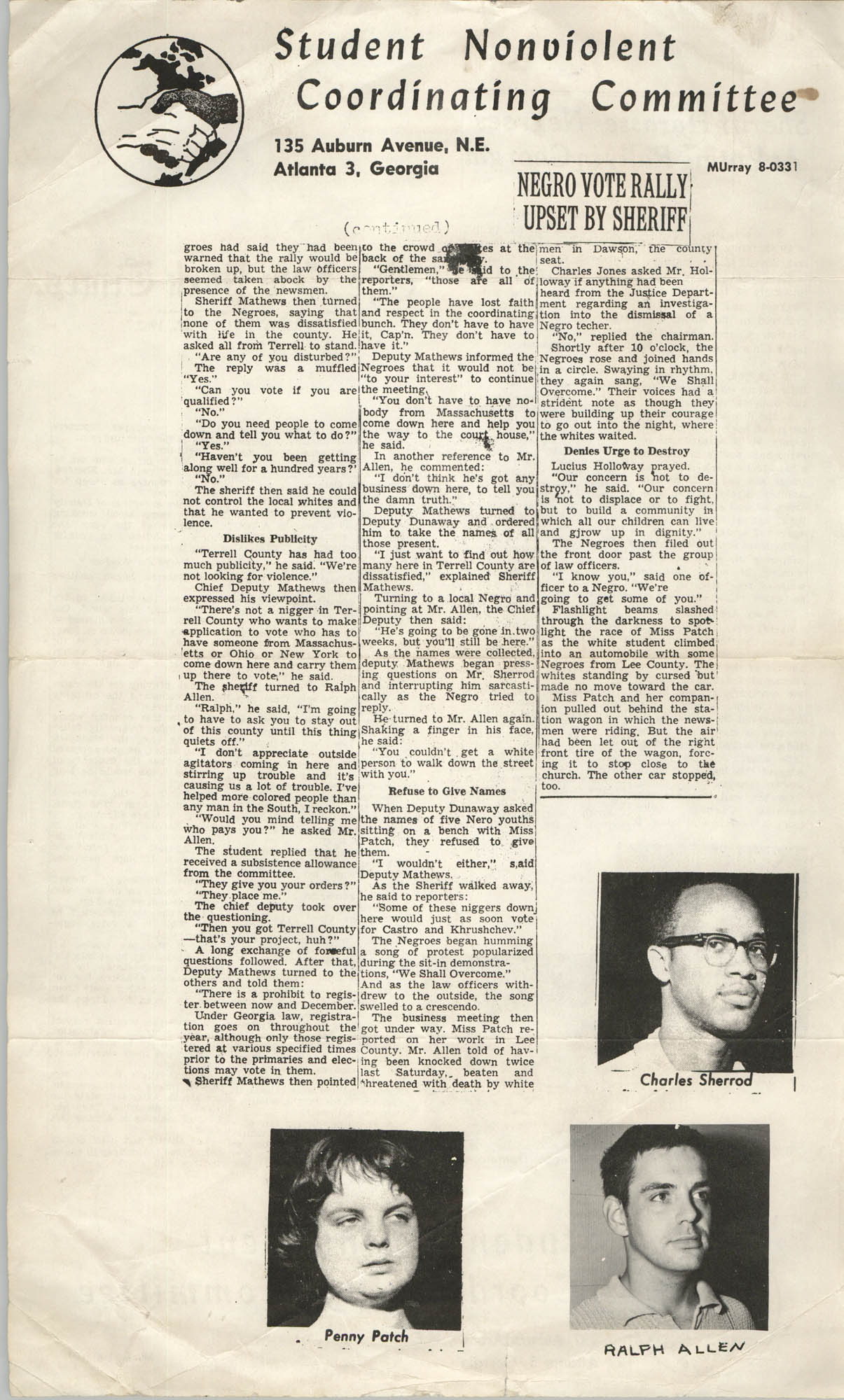 Student Nonviolent Coordinating Committee Newspaper Articles